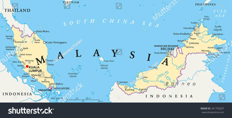 Malaysia Political Map Capital Kuala Lumpur Stock Photo Photo