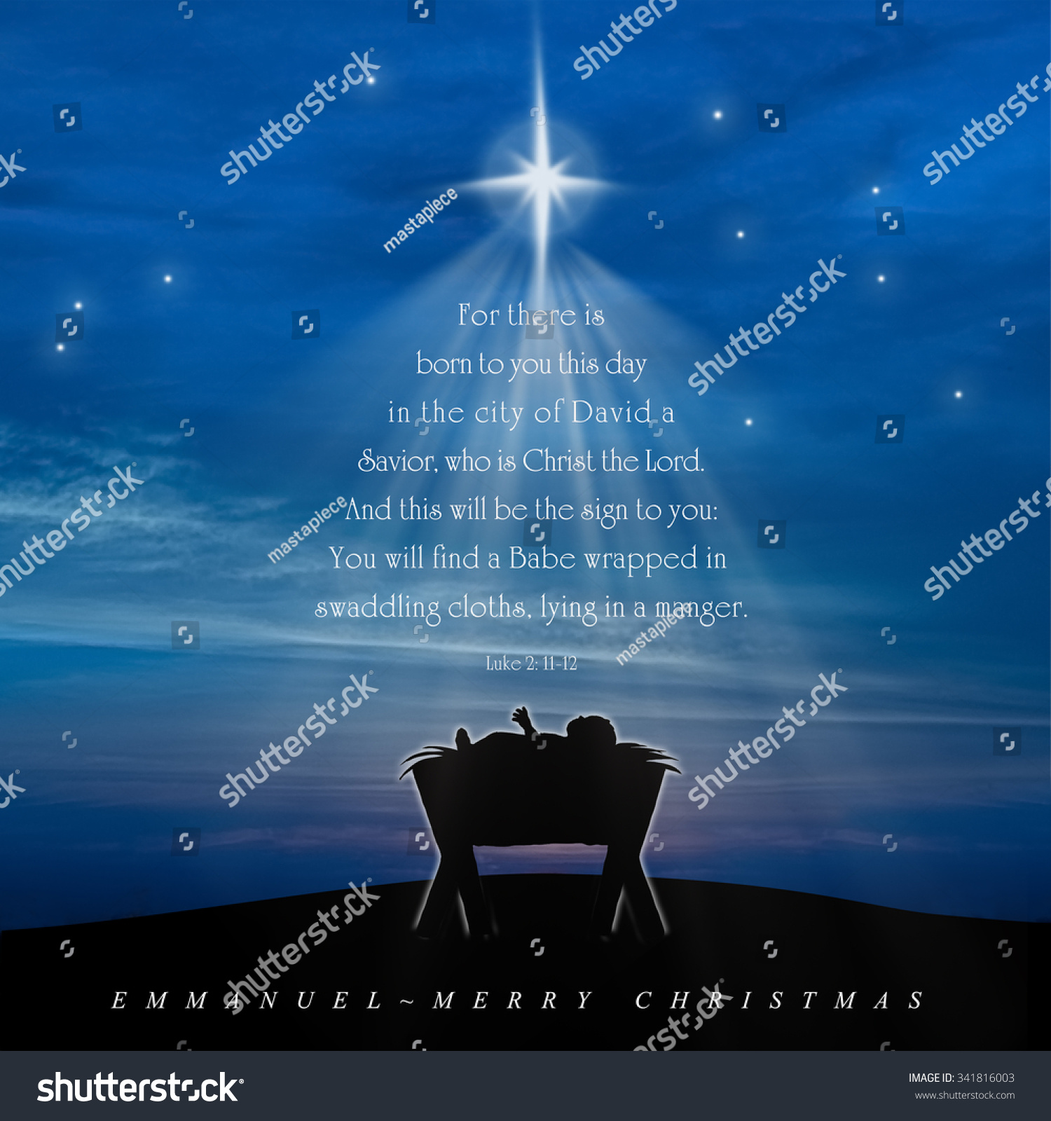 Christmas Card Nativity Scene Baby Jesus Stock Illustration ...
