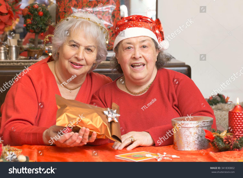 Senior Ladies Christmas Gifts Living Room Stock Photo (Edit Now ...