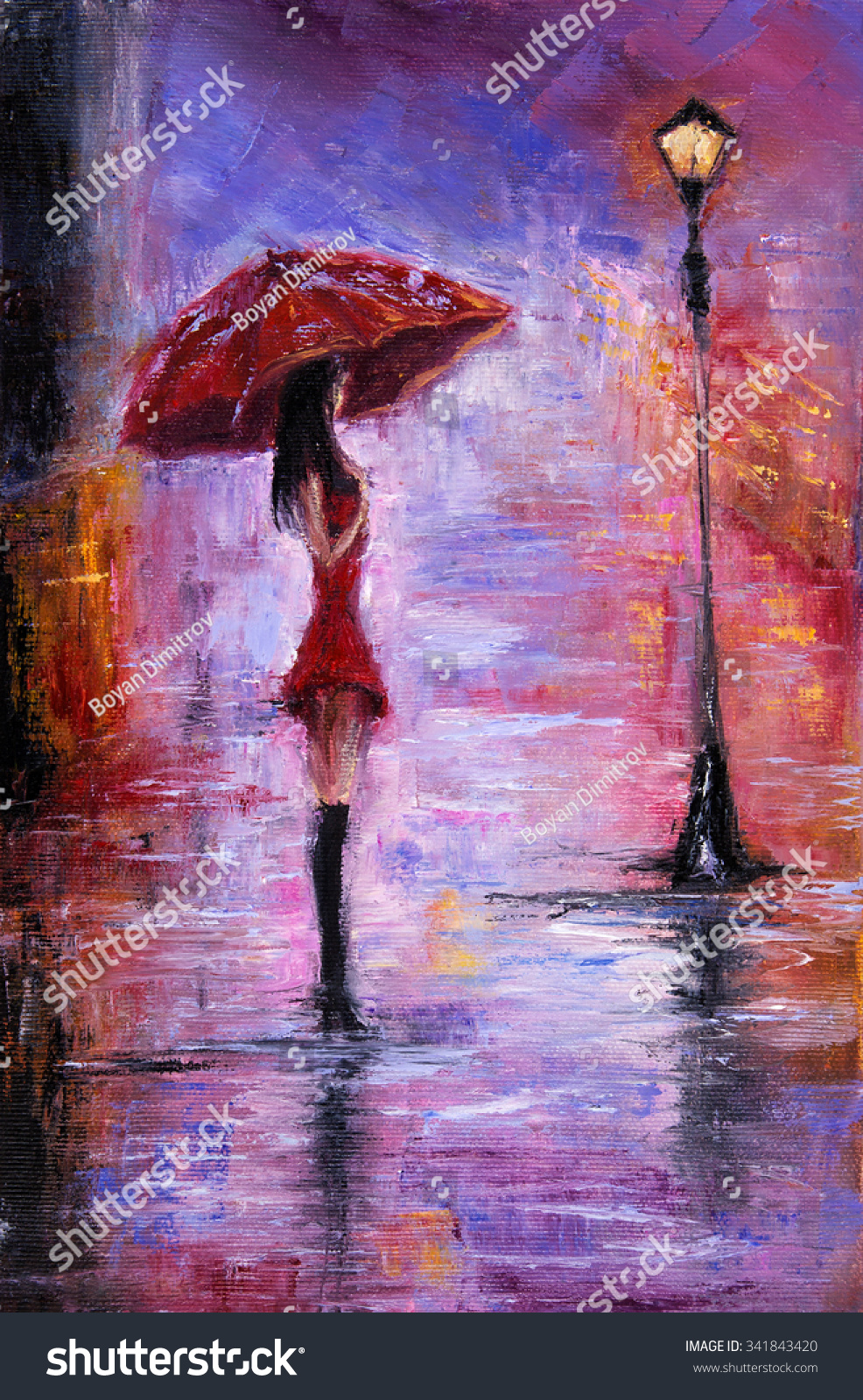 Original oil painting showing beautiful young stock for Painting red umbrella