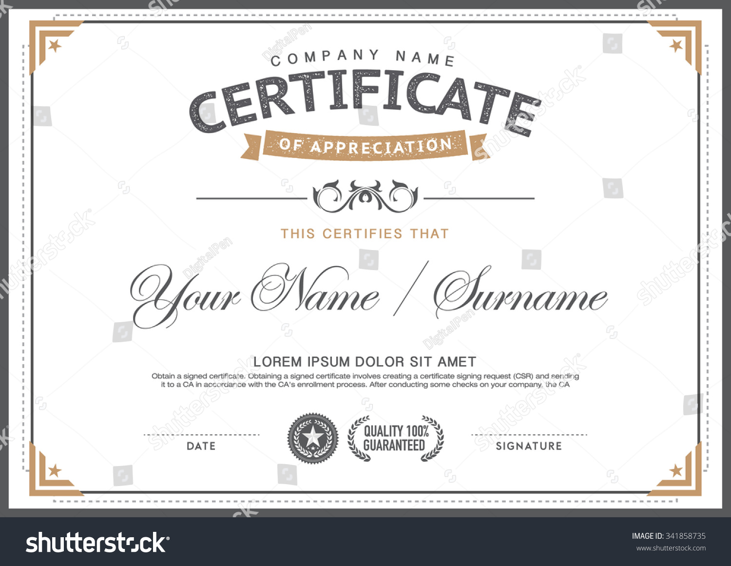 Vintage Certificate Template Smartcleanhipster Stock Vector Royalty
