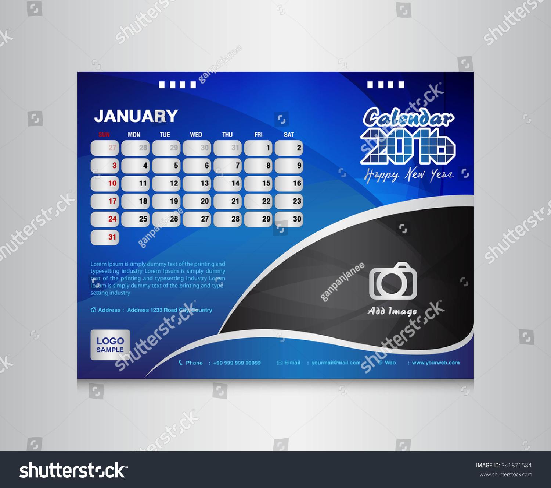 Calendar Design Website : Blue desk calendar template vector stock