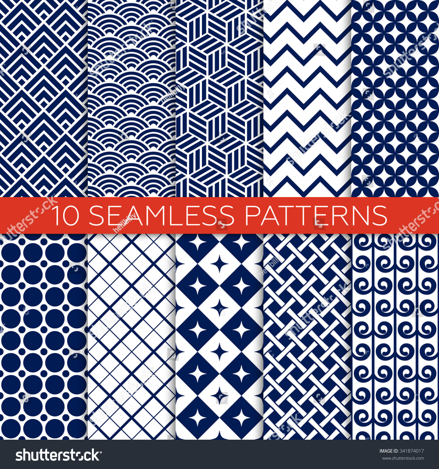 set navy color geometric patterns monochrome stock vector