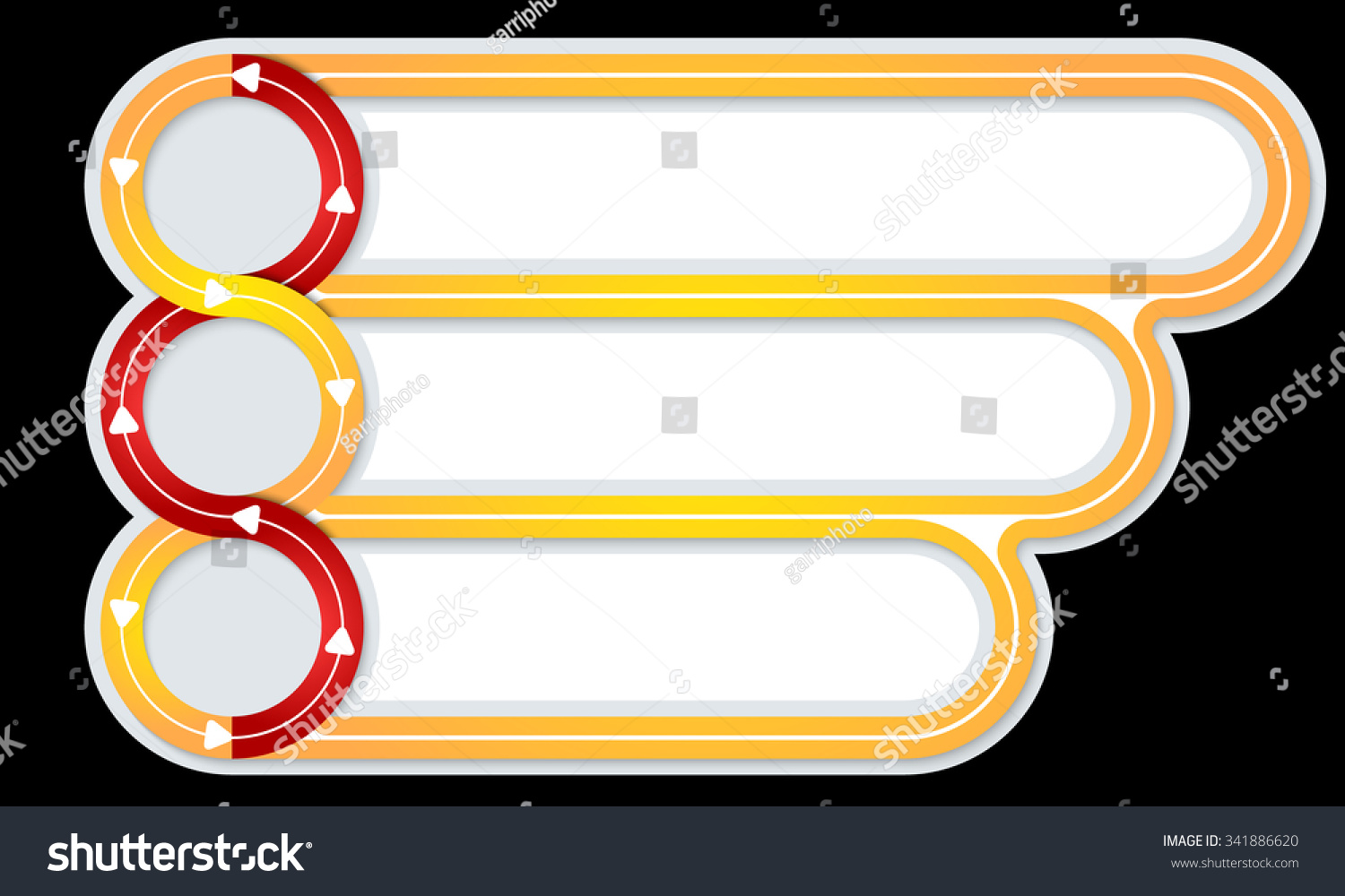Three Connected Frames Your Text Arrows Stock Vector 341886620 ...