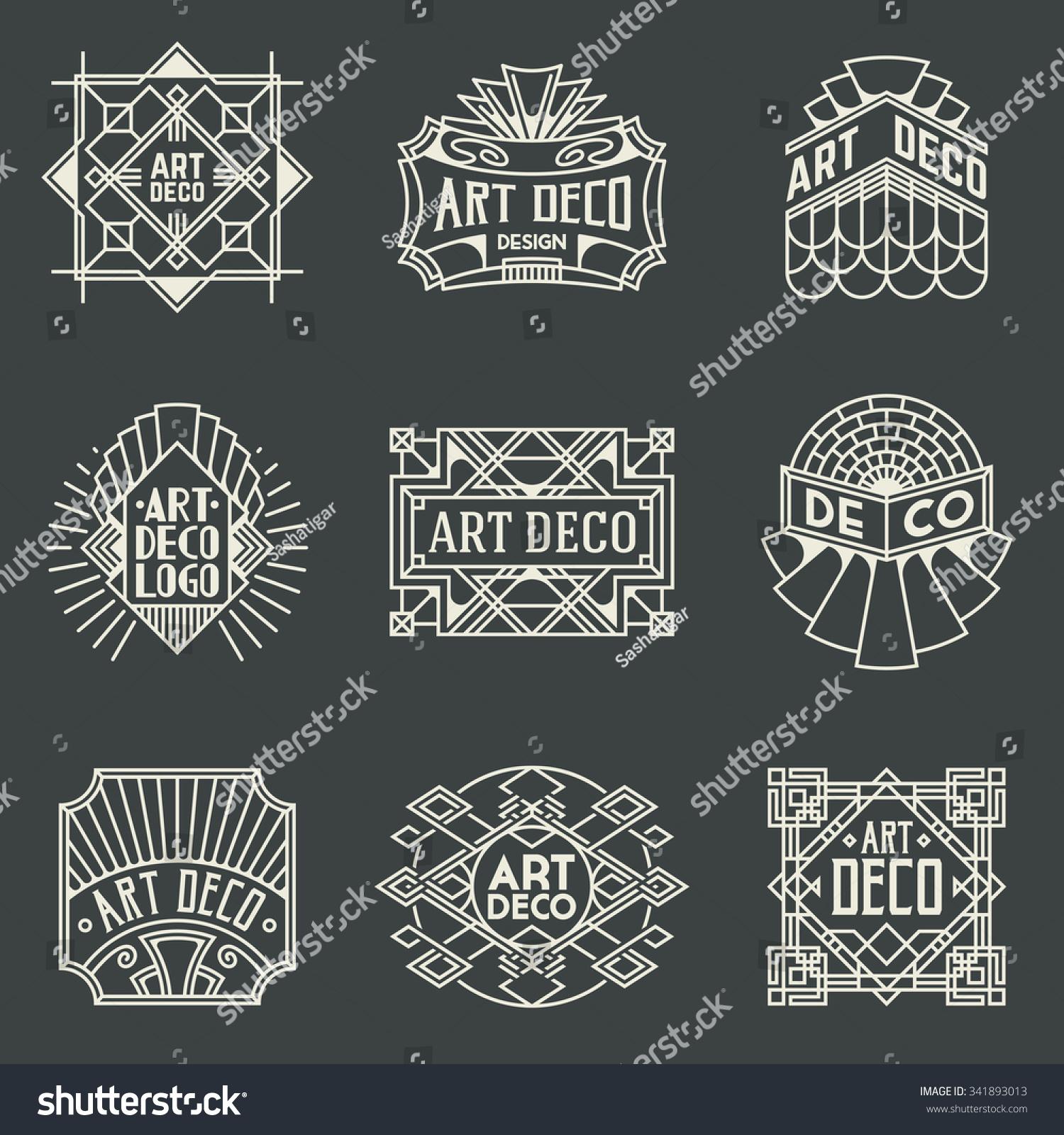 Art Deco Line Design : Art deco insignias retro design logotypes stock vector