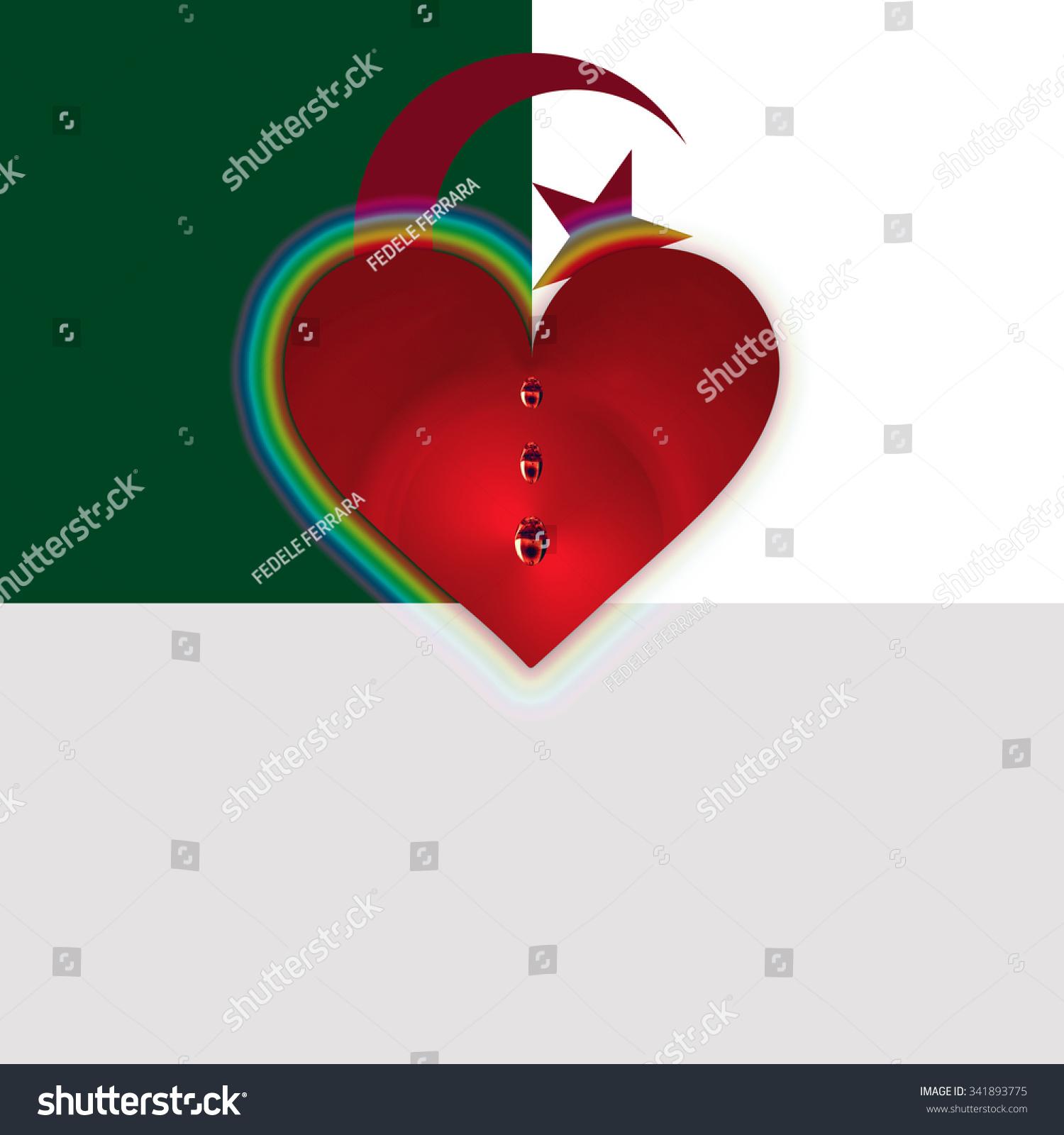 Flag algeria bleeding heart stock illustration 341893775 flag of algeria with bleeding heart buycottarizona