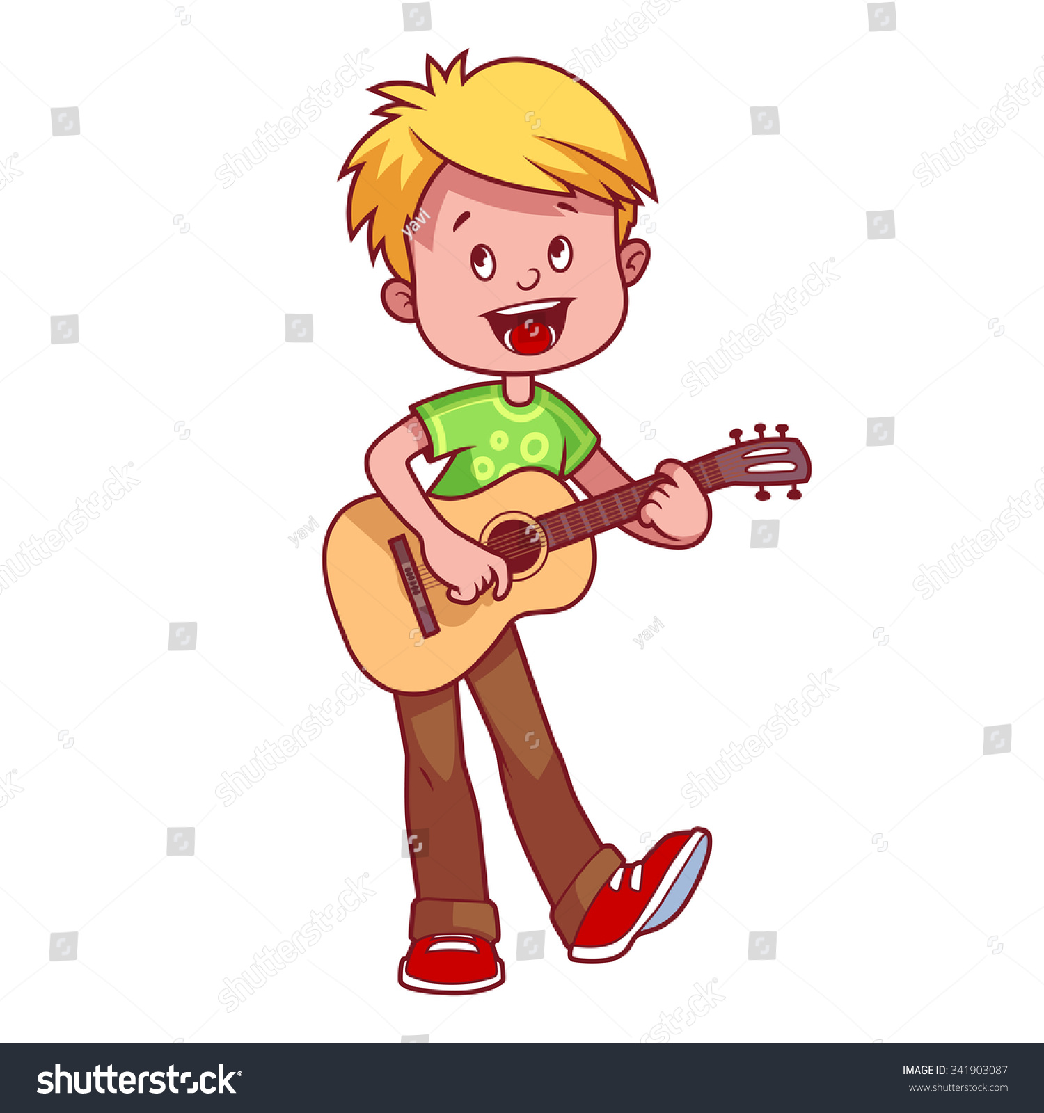 Cartoon Boy Guitar His Hands Vector Stock Vector 341903087 ...