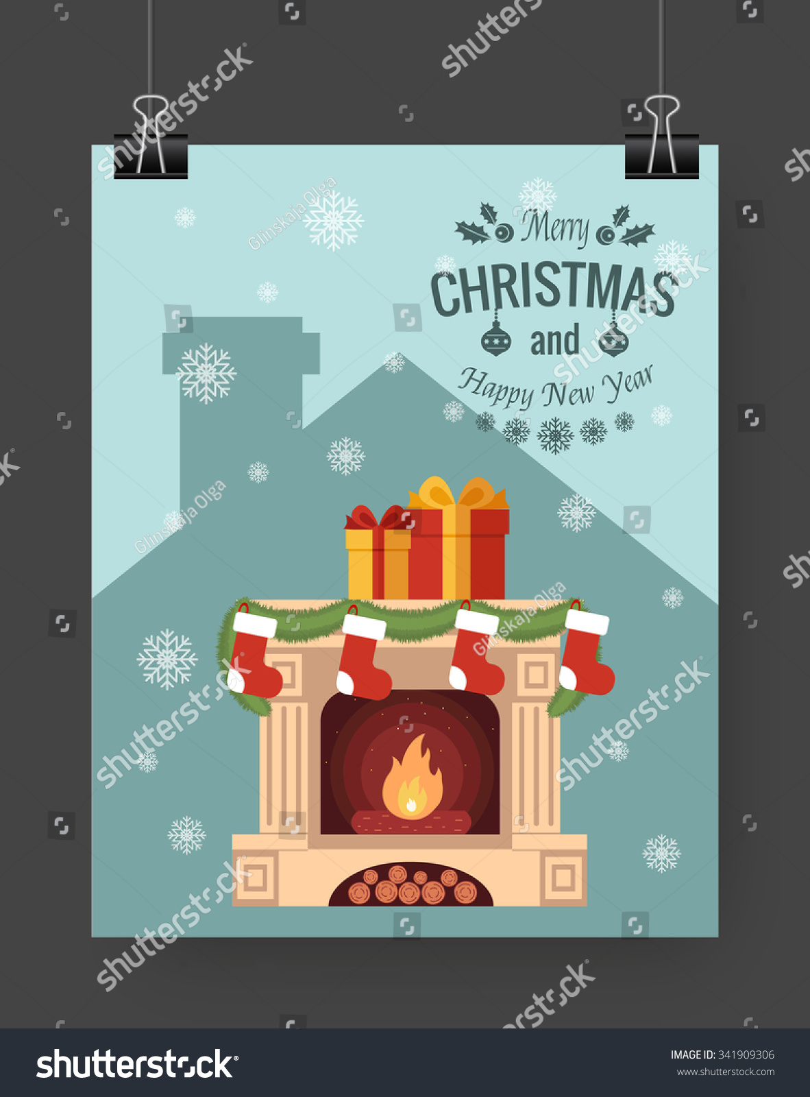 christmas brochure template flat flyer design xmas fireplace save to a lightbox