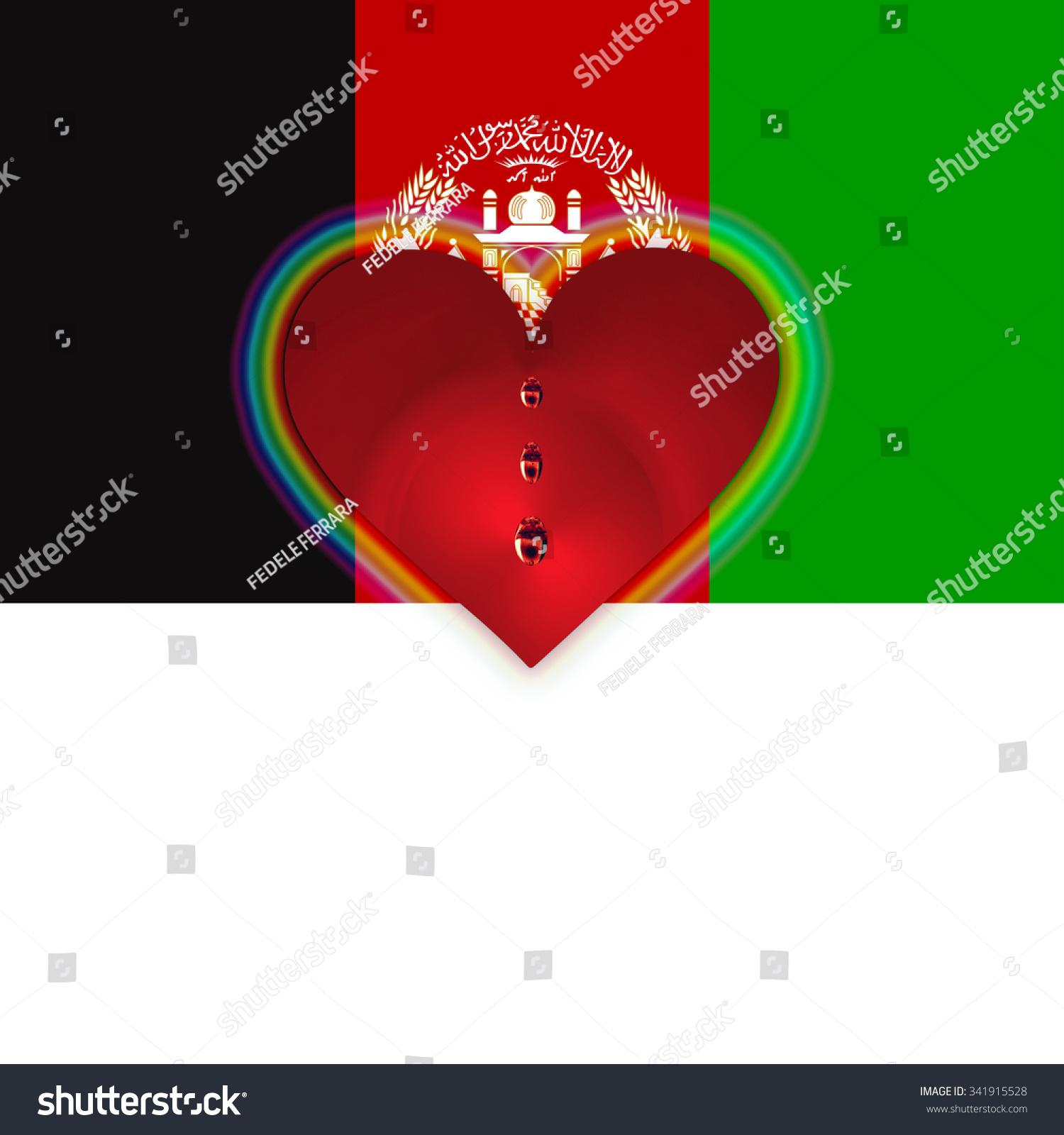 Flag afghanistan bleeding heart stock illustration 341915528 flag of afghanistan with bleeding heart buycottarizona