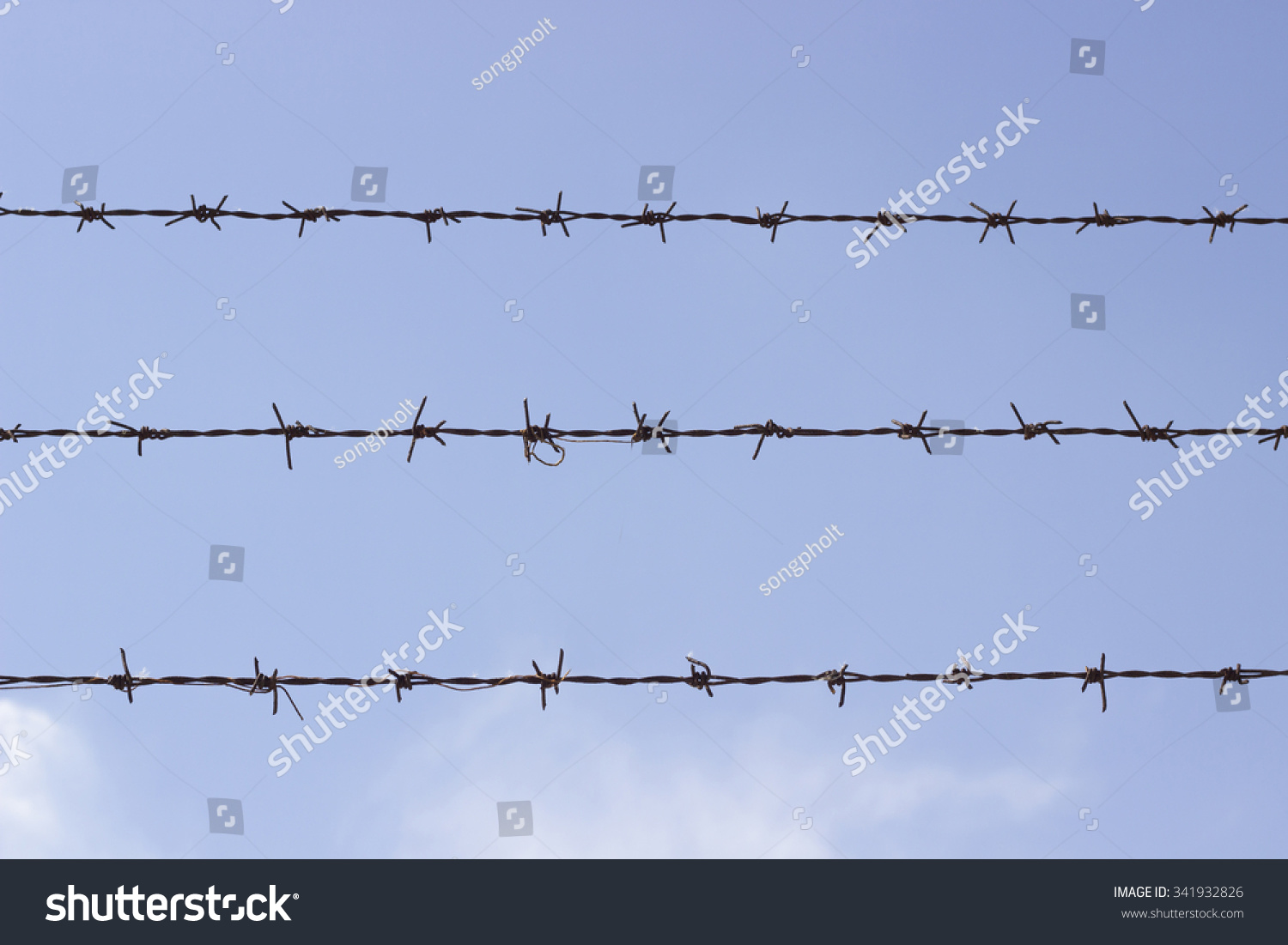 Uses Of Barb Wire : Barbed wire used block restricted areas stock photo