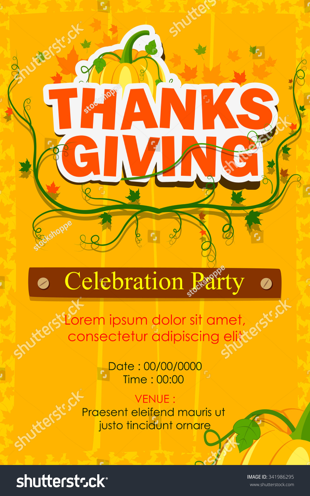 Vector Illustration Happy Thanksgiving Party Invitation Stock Photo ...