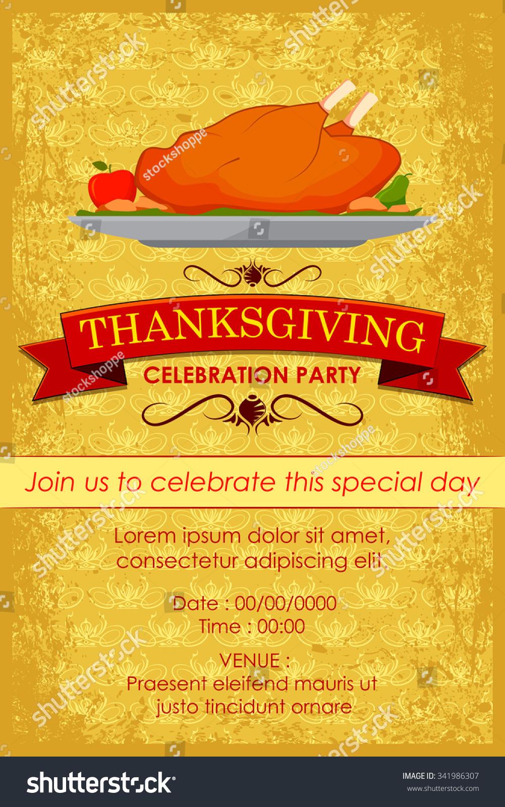 Vector Illustration Happy Thanksgiving Party Invitation Stock Vector ...