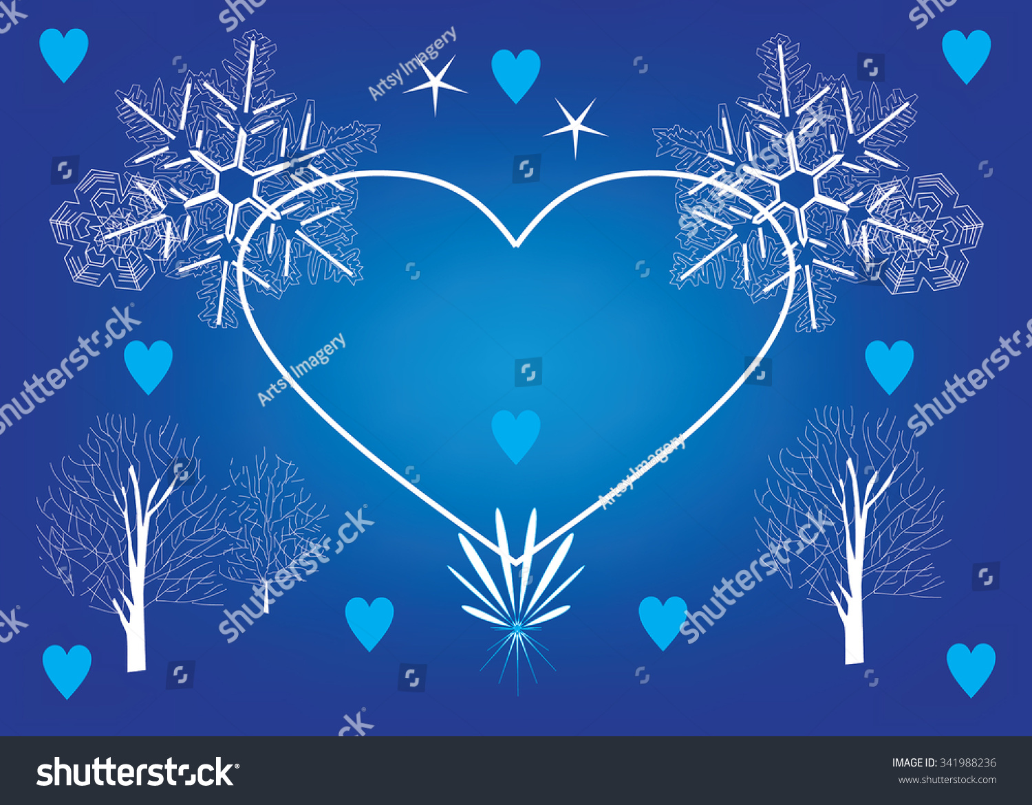 Blue christmas card template with white snowflakes