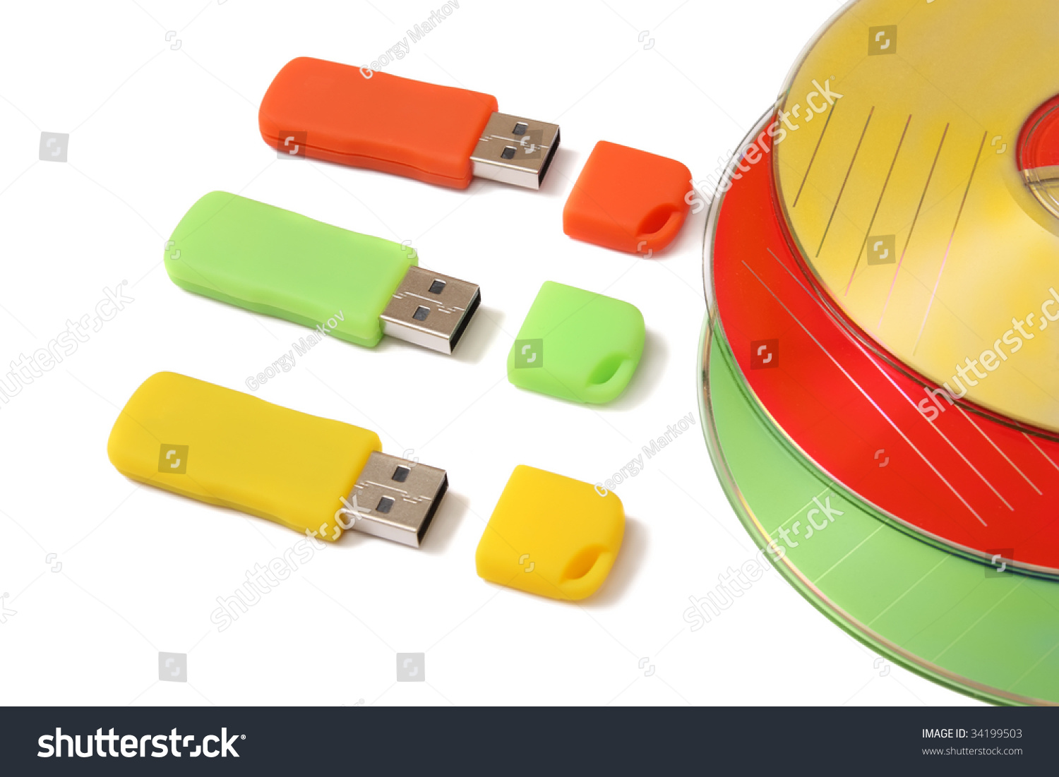 Digital Data Storage Devices Flash Drives Stock Photo 34199503 ...