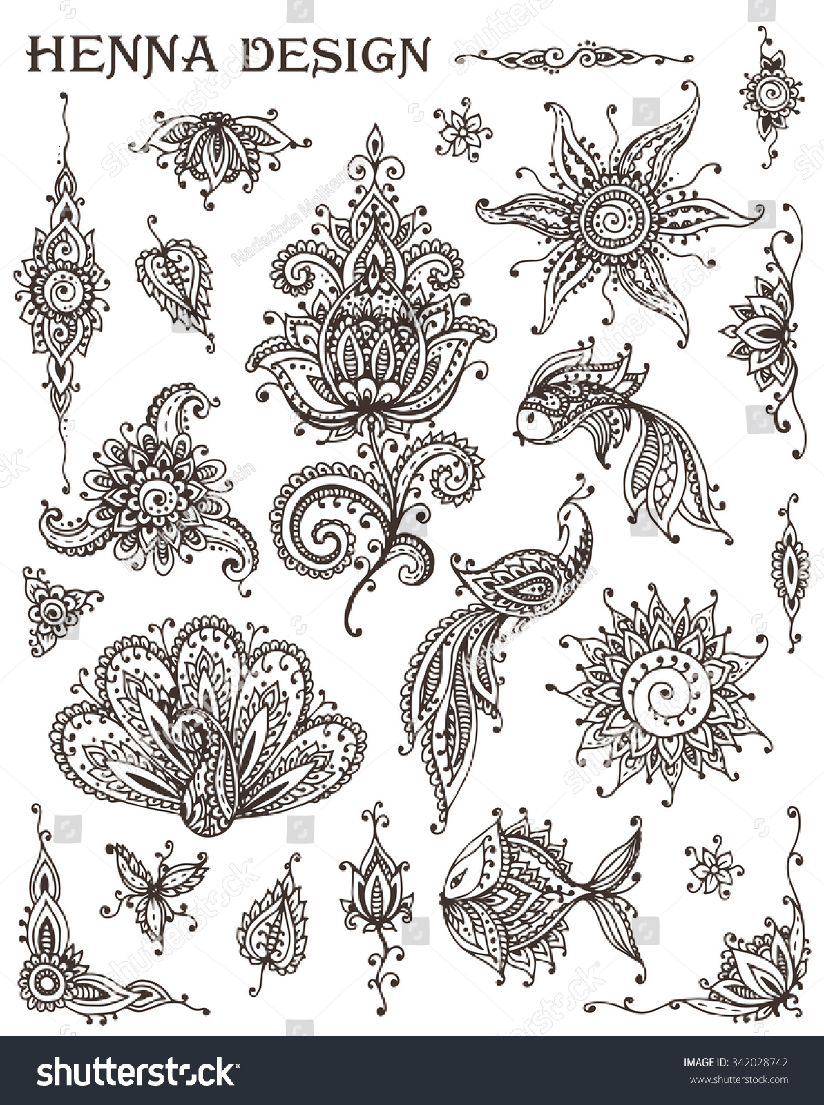 Animal ornaments - Vector Set Of Henna Floral And Animal Elements Based On Traditional Asian Ornaments Paisley Mehndi