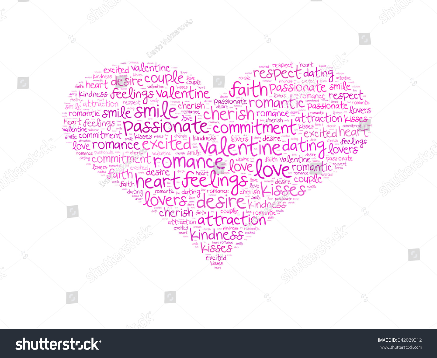 Heart Shape Word Cloud Made Words Illustration 342029312 – Words of Romance for Romantic Love Letters