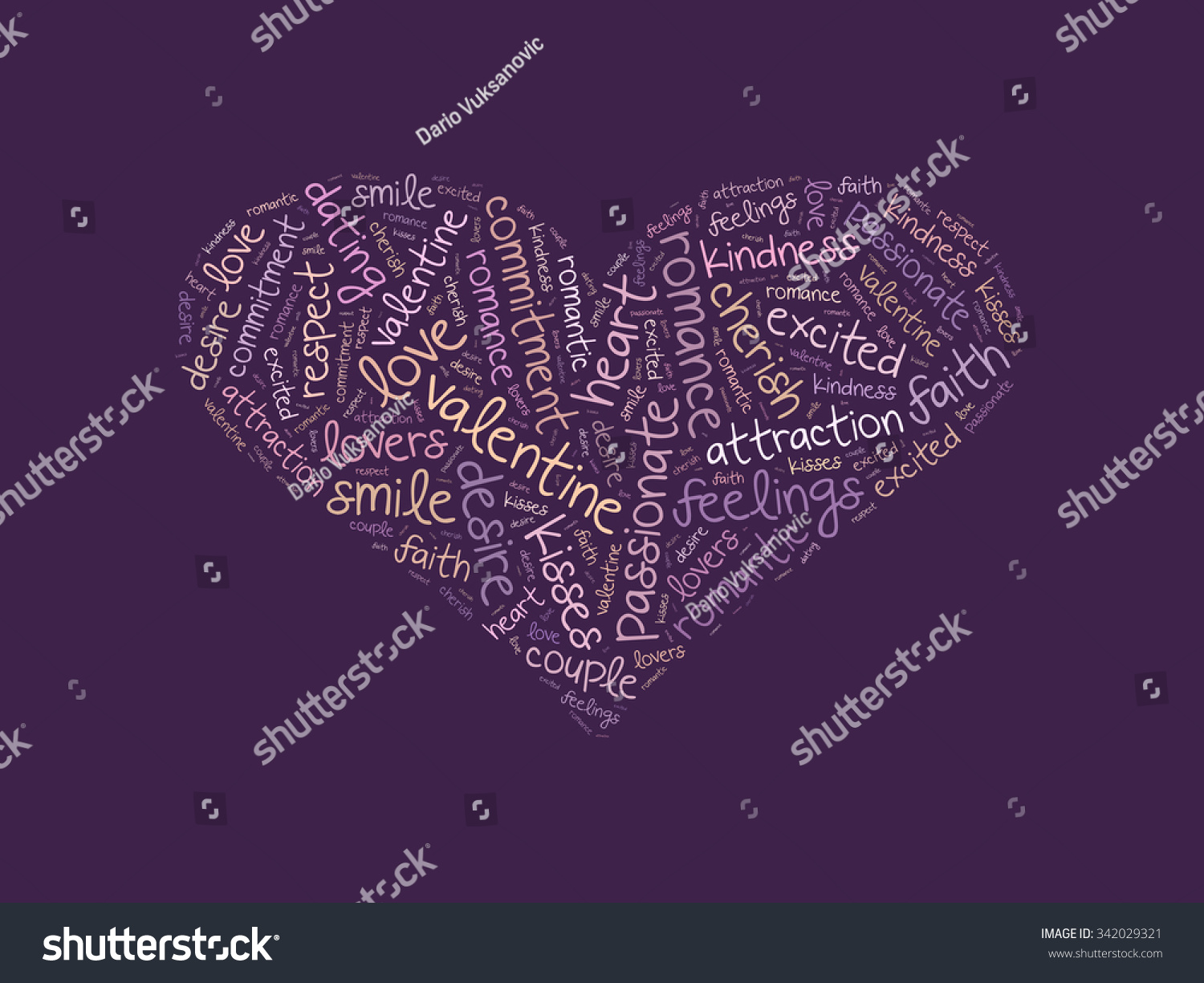Heart Shape Word Cloud Made Words Illustration 342029321 – Words of Romance for Romantic Love Letters