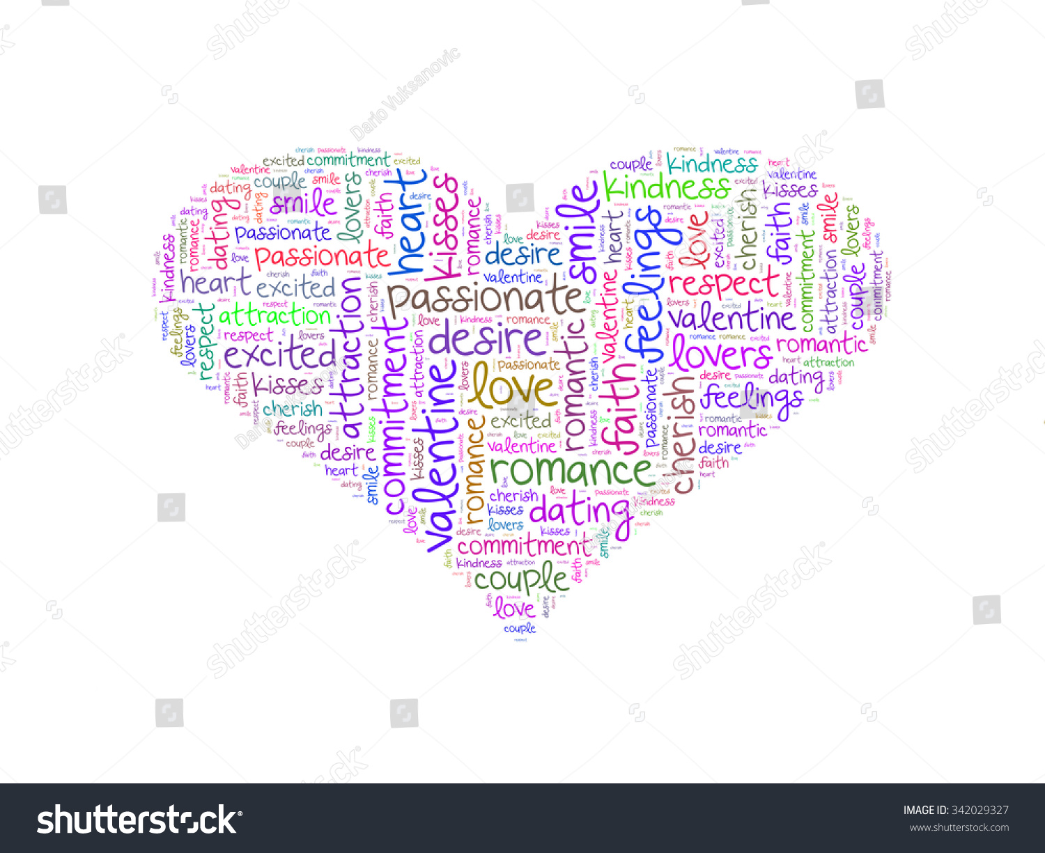 Heart Shape Word Cloud Made Words Illustration 342029327 – Words of Romance for Romantic Love Letters