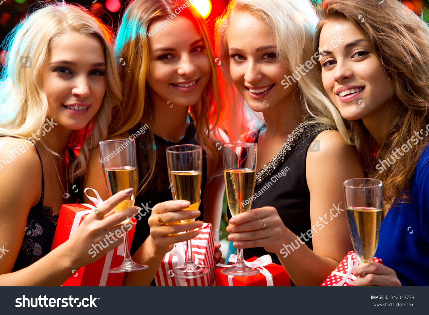happy beautyful girls christmas gifts stock photo 342043778