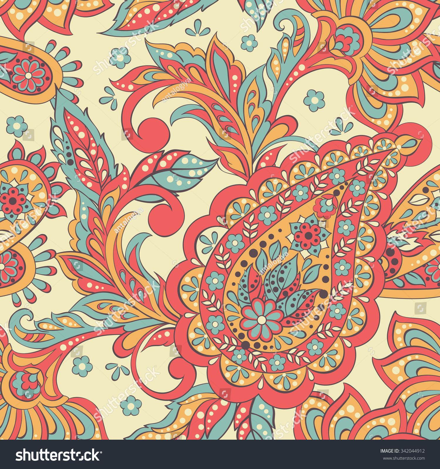 Vintage Pattern Indian Batik Style Seamless Stock Vector