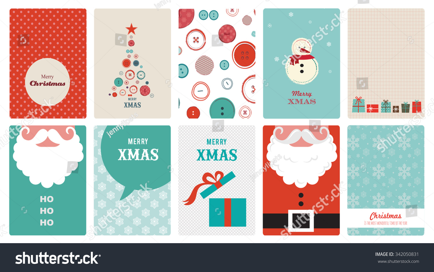 Cute Collection Hipster Christmas Greeting Cards Stock Vector ...