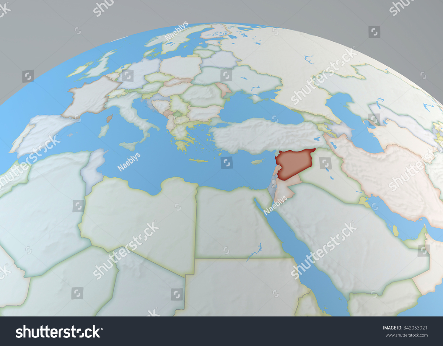 World map middle east syria highlighted stock illustration 342053921 world map of middle east with syria highlighted north africa and europe gumiabroncs Images