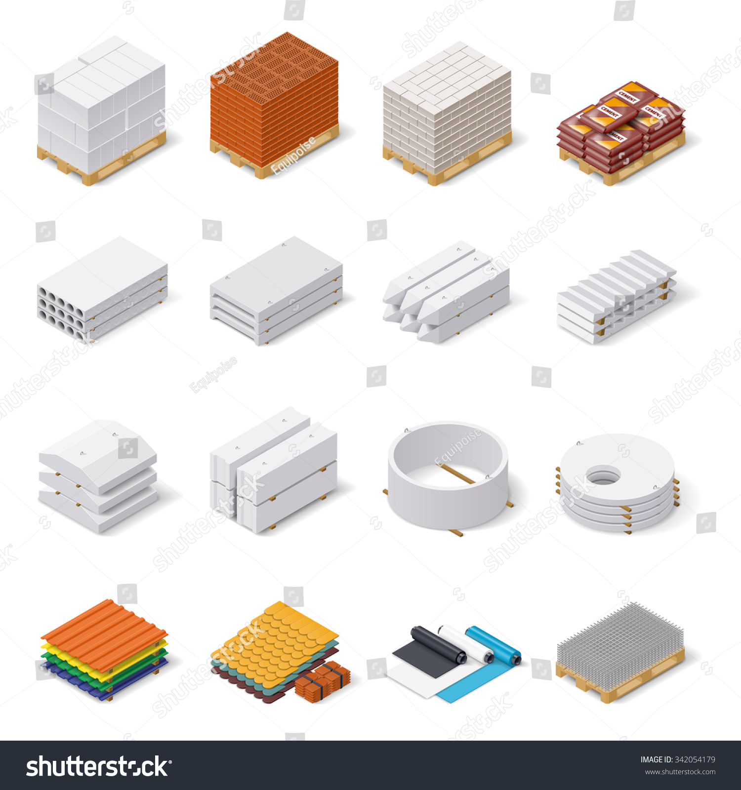 Construction Materials Isometric Icon Set Concrete 342054179 on Cinder Block Wall Isometric
