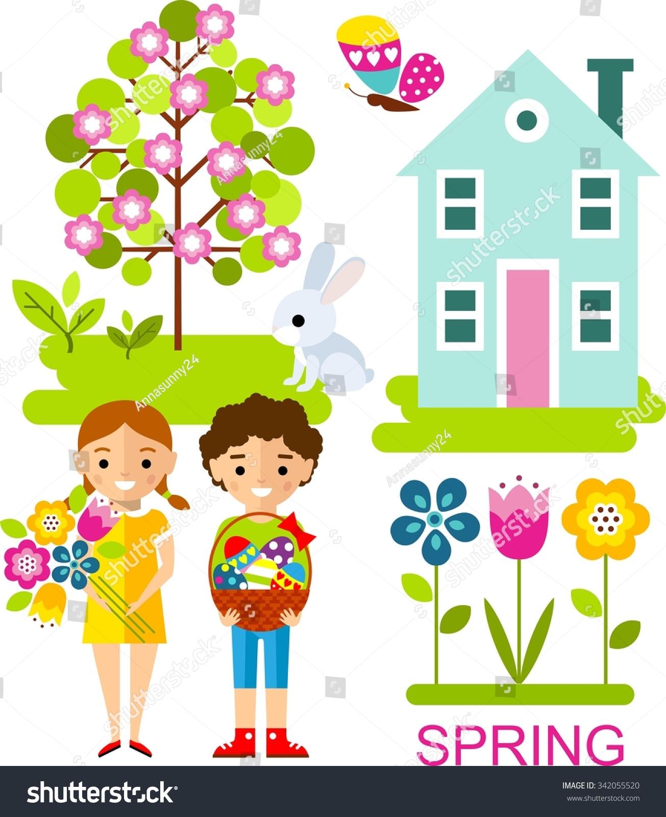 Set Vector Illustration Spring Season Tree Stock Vector (Royalty