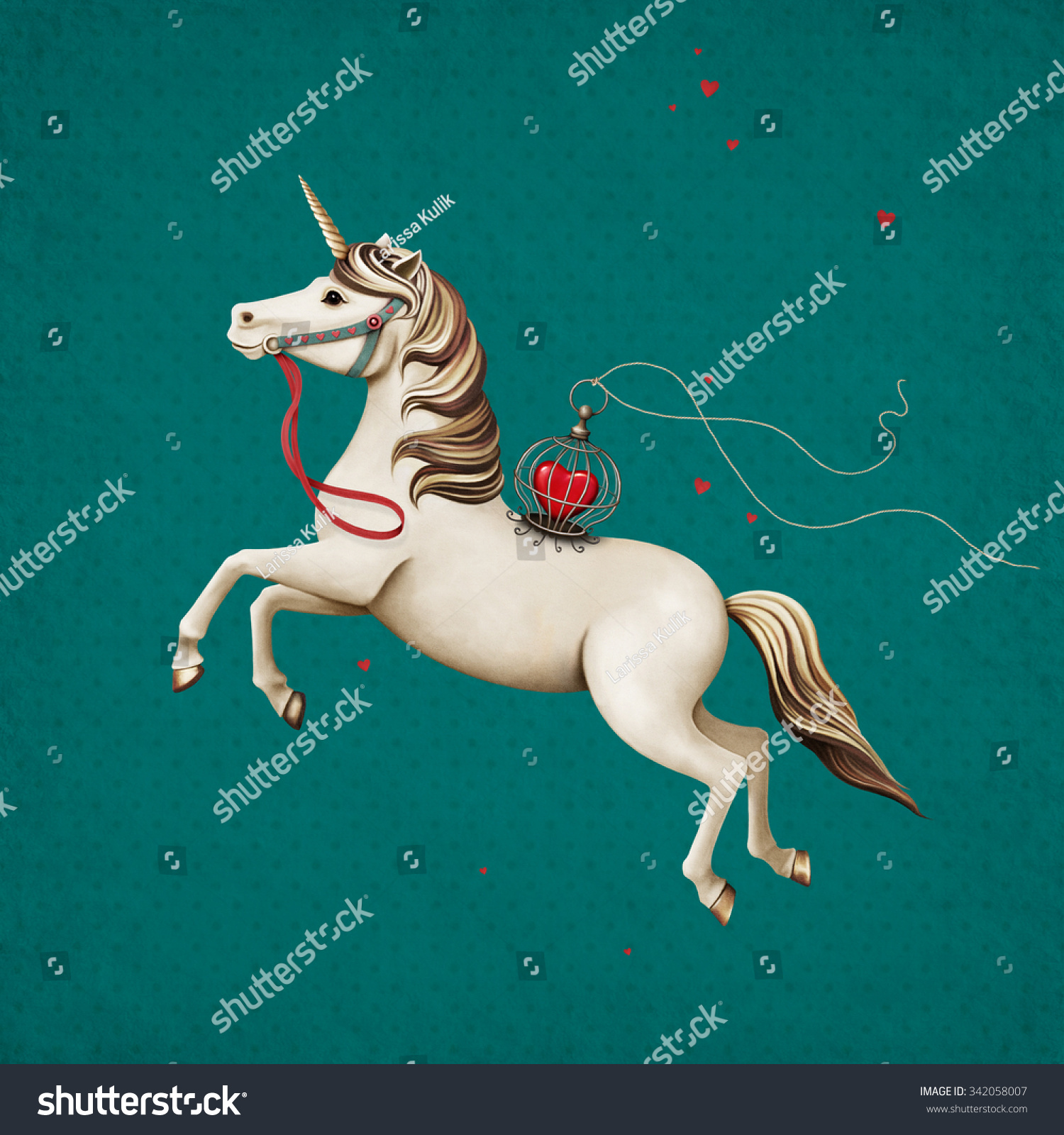 Postcard or poster with circus performance horse with heart in cage