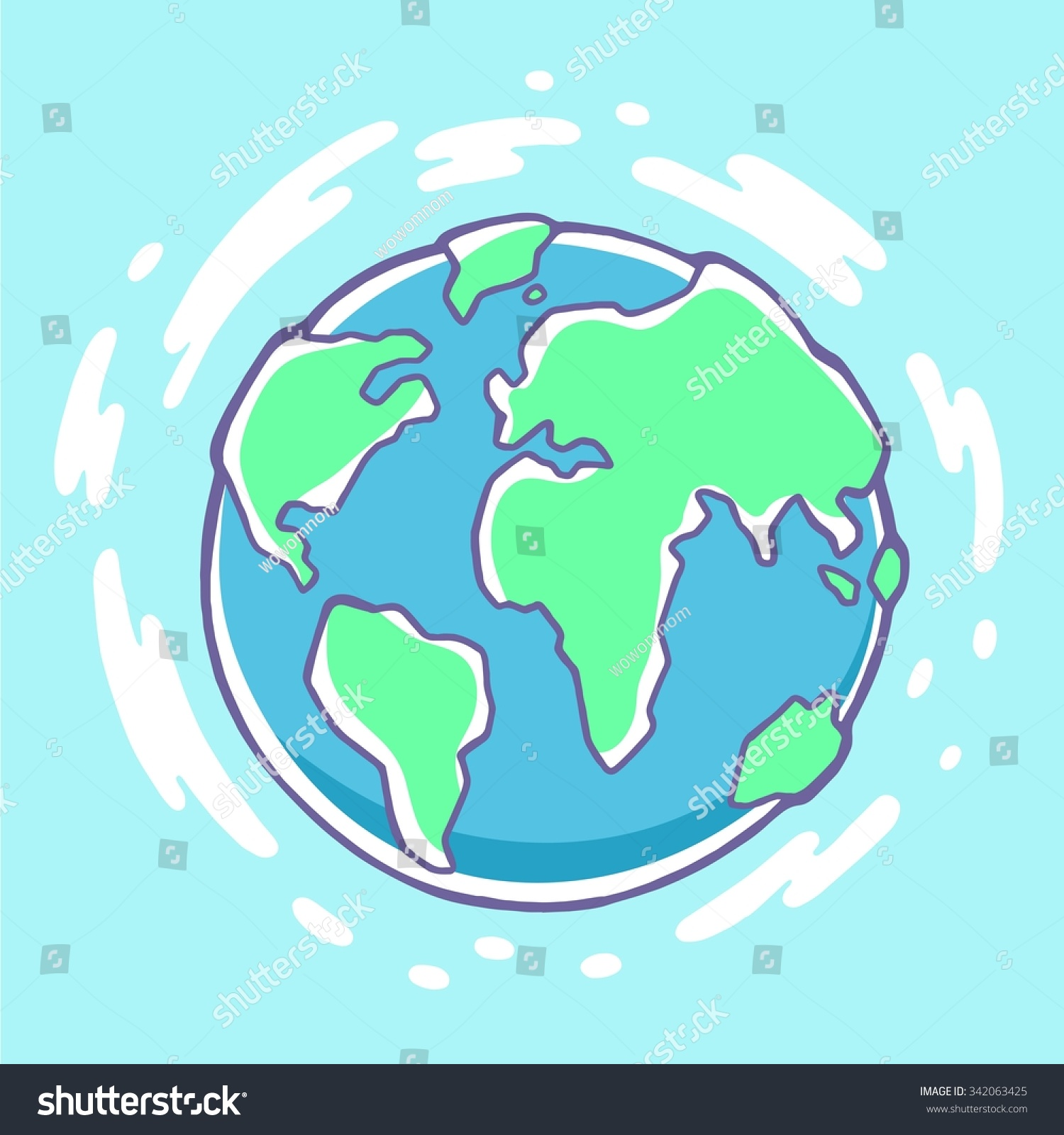 Vector colorful illustration of planet earth on blue for Easy to draw earth