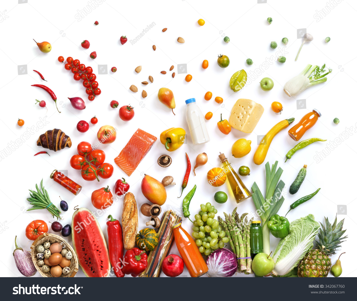 Food background studio photo of different fruits and vegetables - Healthy Eating Background Studio Photography Of Different Fruits And Vegetables Isoleted On White Backdrop