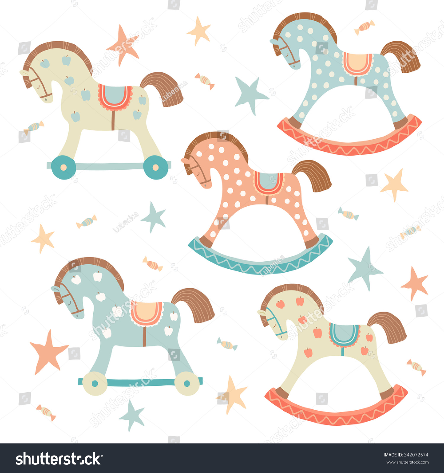Cute Toy Rocking Horse Set Kids Stock Vector 342072674