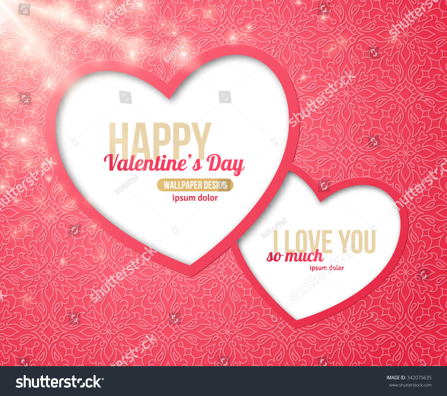 Happy Valentines Day Greeting Card Two Stock Vector 342075635
