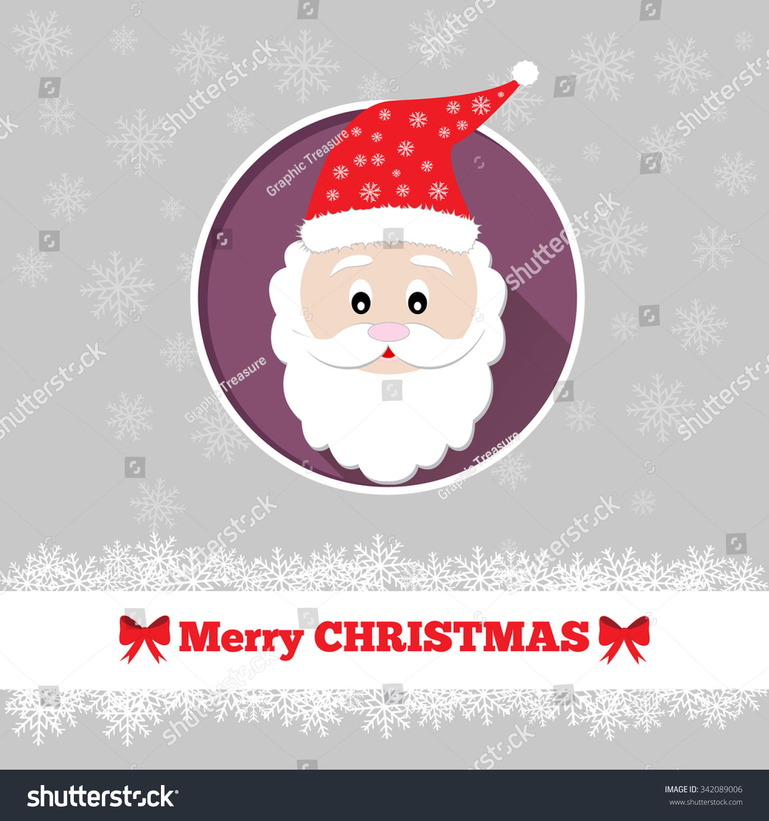Christmas Card Template Santa Circle Stock Vector 342089006 ...