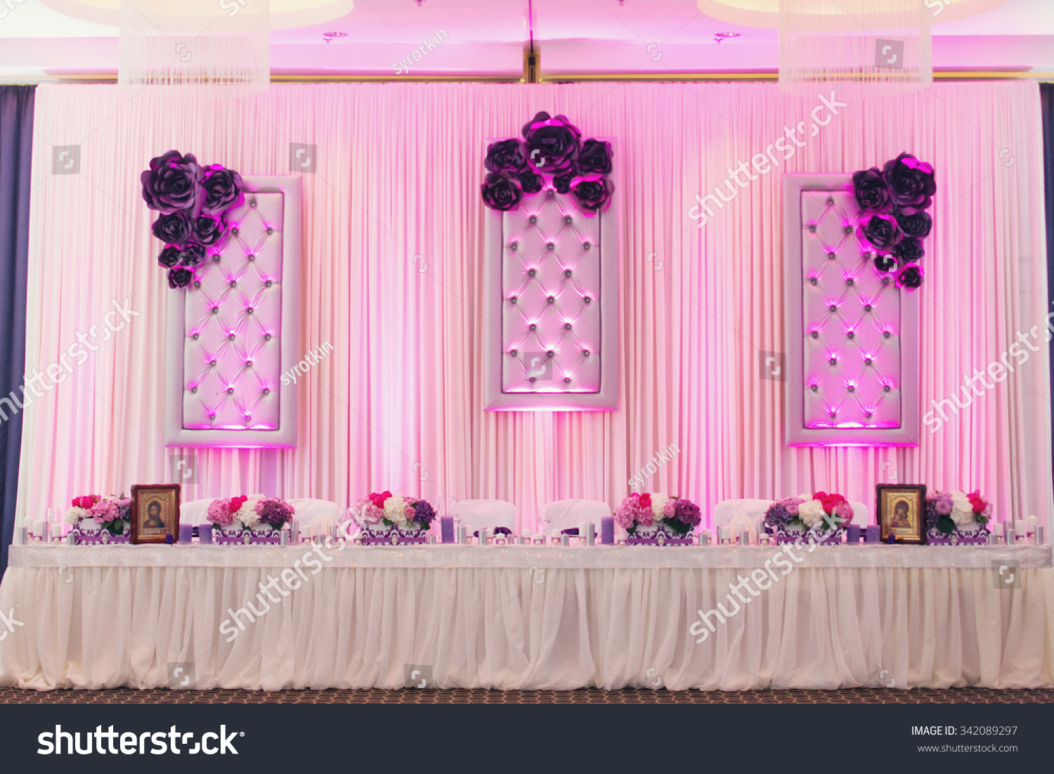 Luxury Stylish Wedding Reception Purple Decorations Stock Photo ...