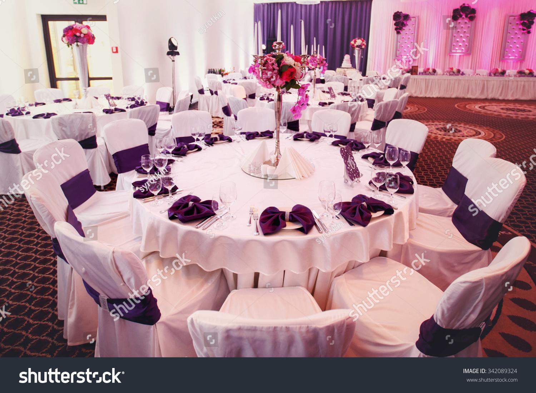 Luxury Stylish Wedding Reception Purple Decorations Stock Photo ...