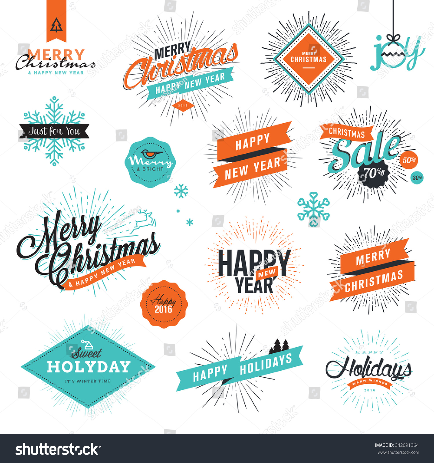 Christmas New Years Vintage Style Signs Stock Vector (Royalty Free ...