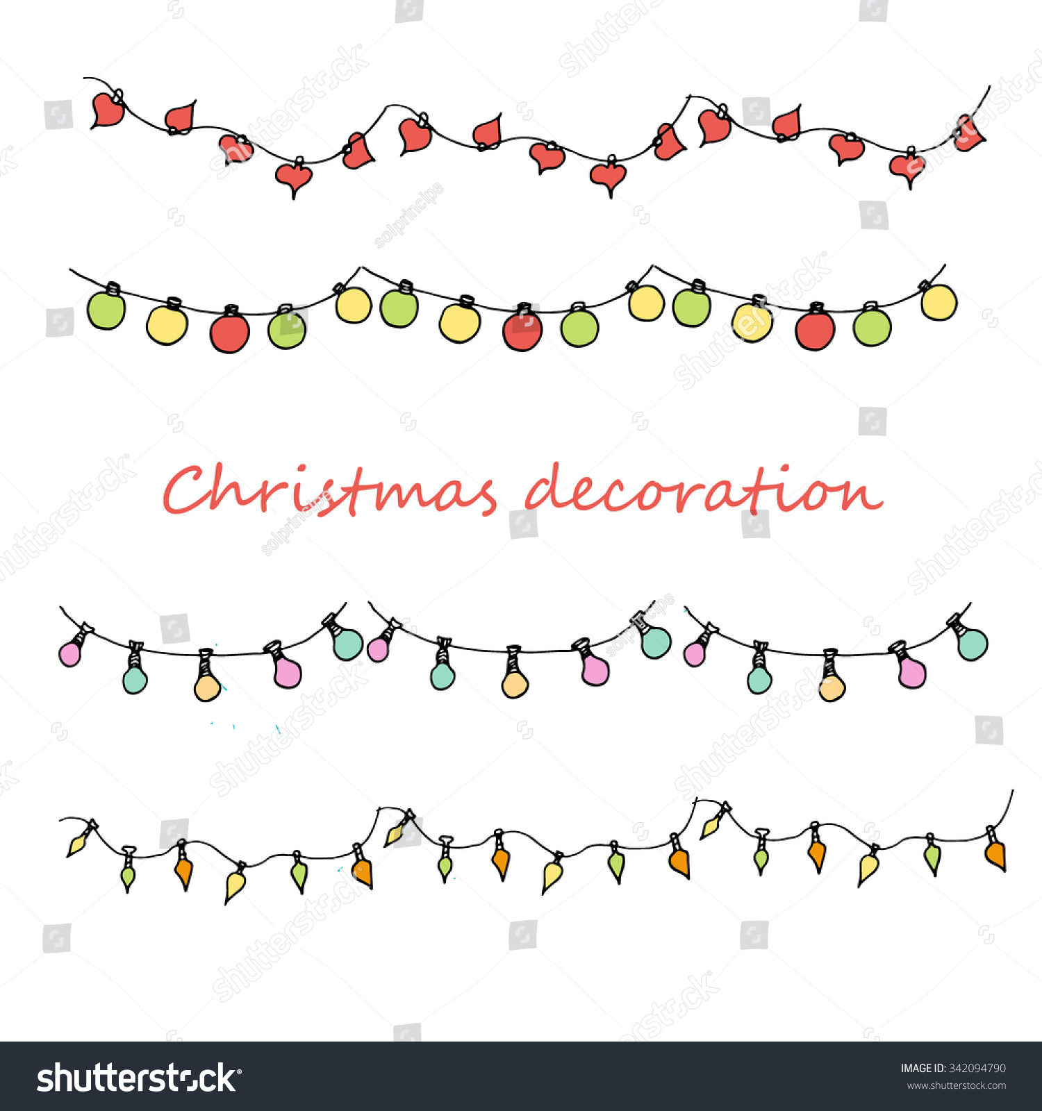 Hand Drawn Colored Sketch Of Christmas Decoration, New ...