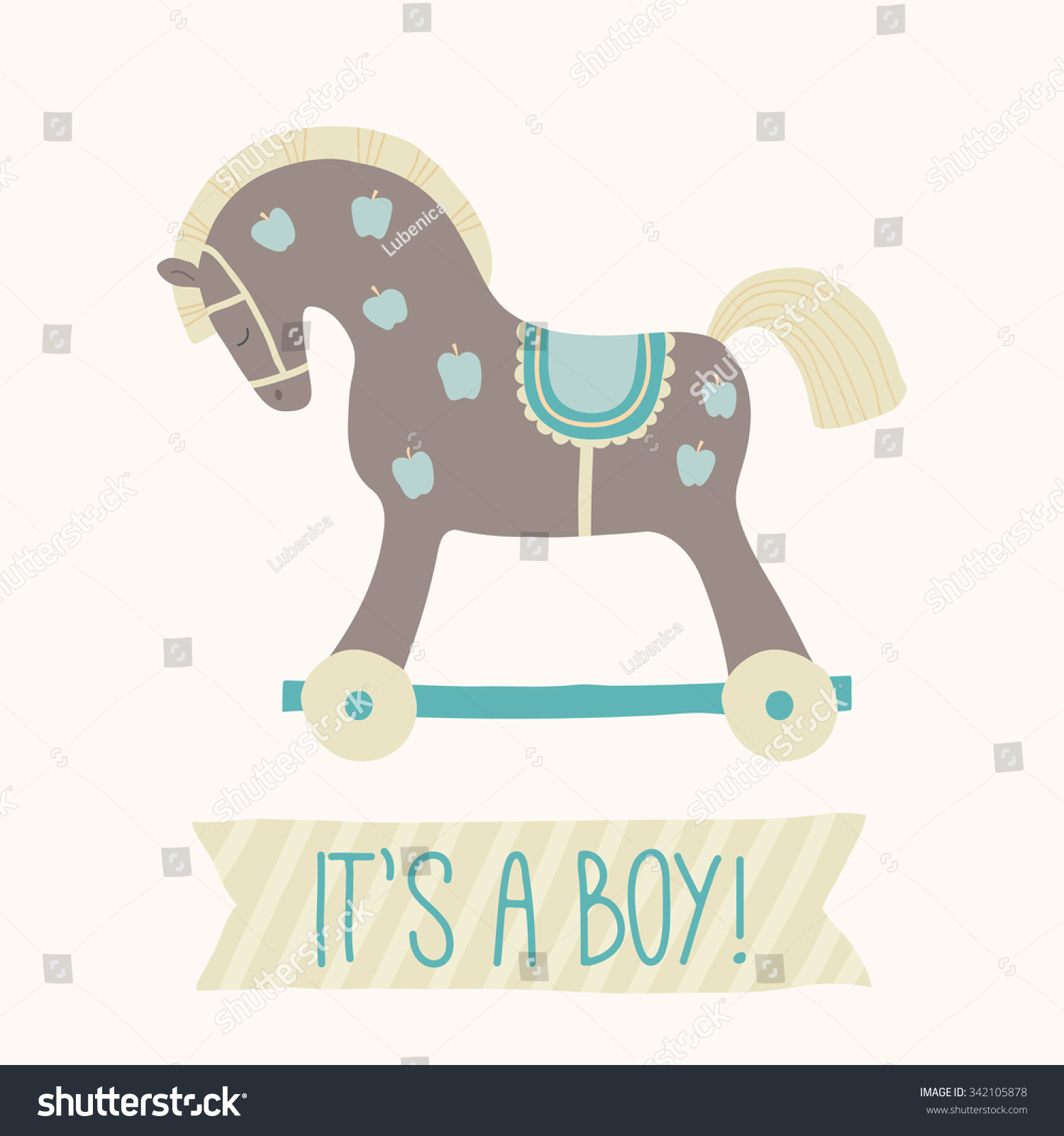 Baby shower invitation its boy cute stock vector 342105878 baby shower invitation its a boy cute toy horse with wheels kids filmwisefo