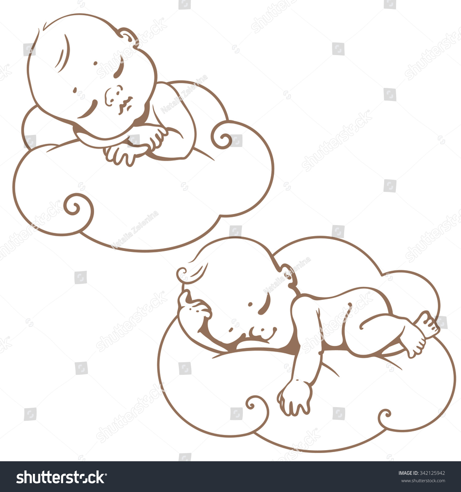 Line Art Baby : Two cute little babies sleeping on stock vector