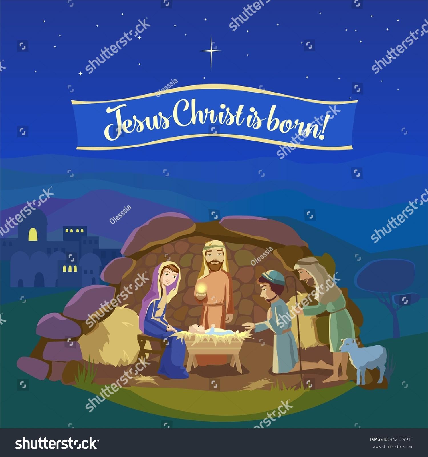 Christmas Night Birth Jesus Christ Bethlehem Stock Vector Royalty