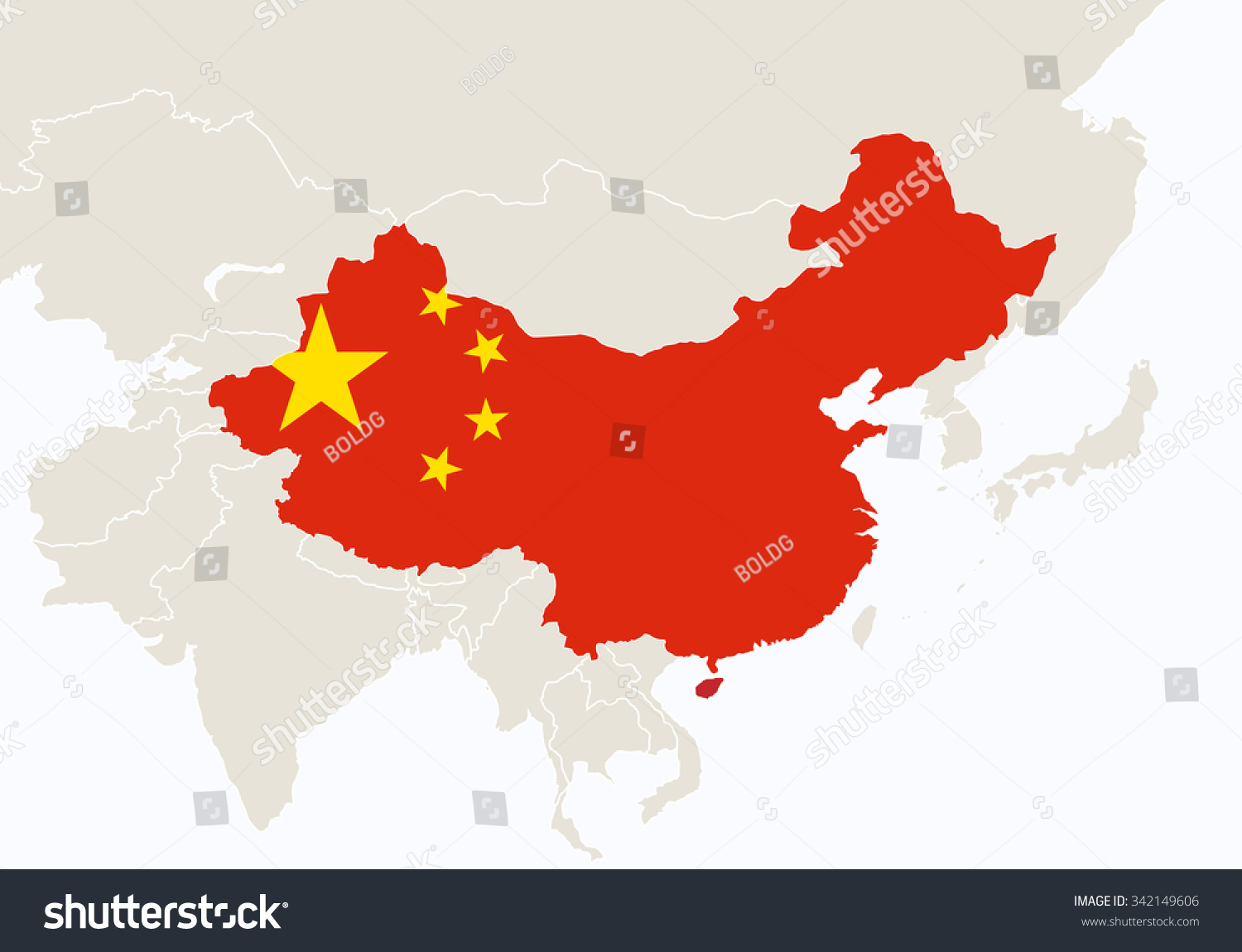 Asia Highlighted China Map Vector Illustration Stock Vector