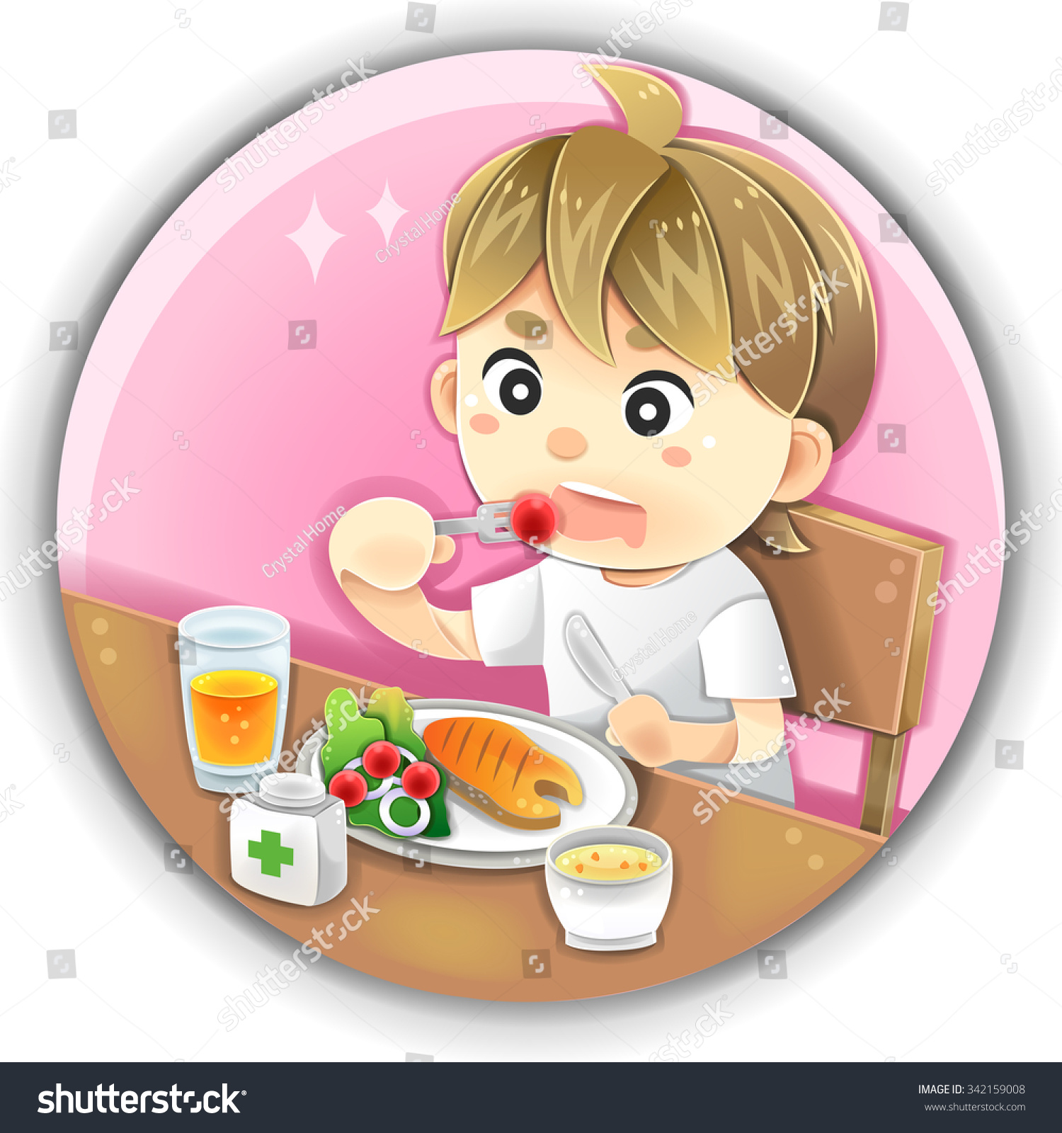 Eating and health - Cartoon Male Character Is Eating Healthy Nutrition Food Such As Salmon Fish Steak Vegetable Fruit Juice