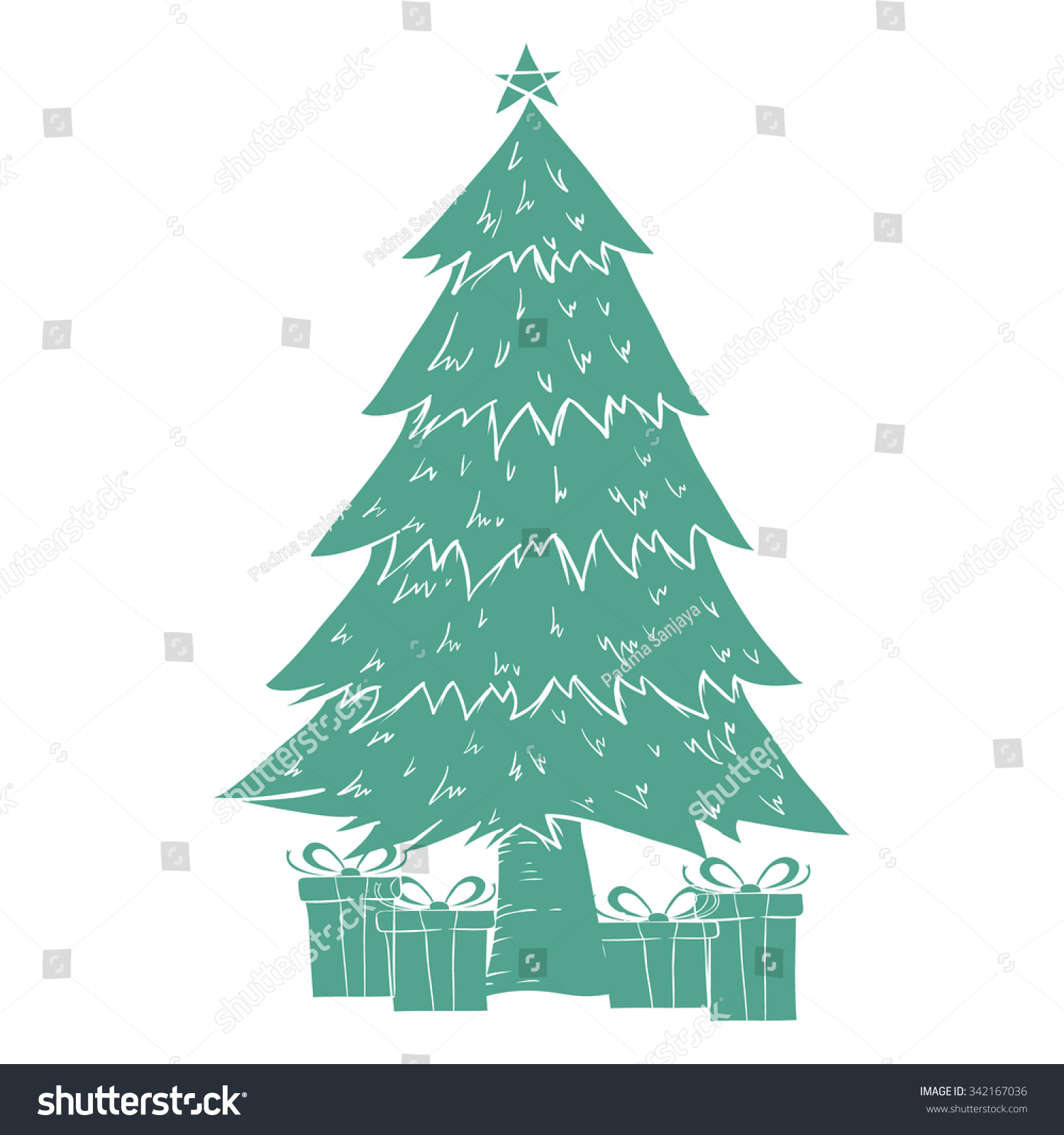 Christmas Tree Decoration One Color Flat Stock Vector Royalty Free 342167036