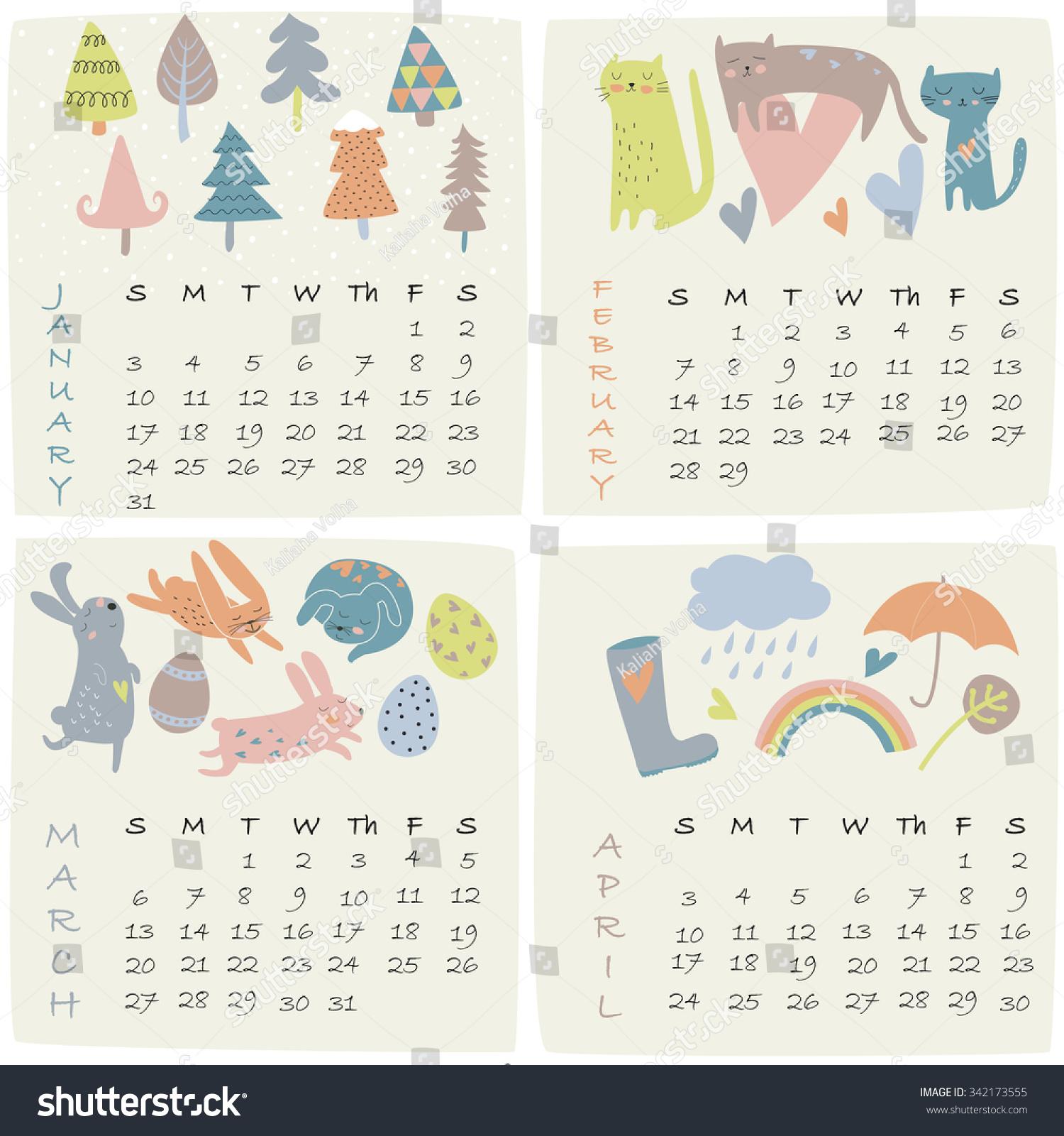 April Calendar Illustration : Calendar january february march april stock vector