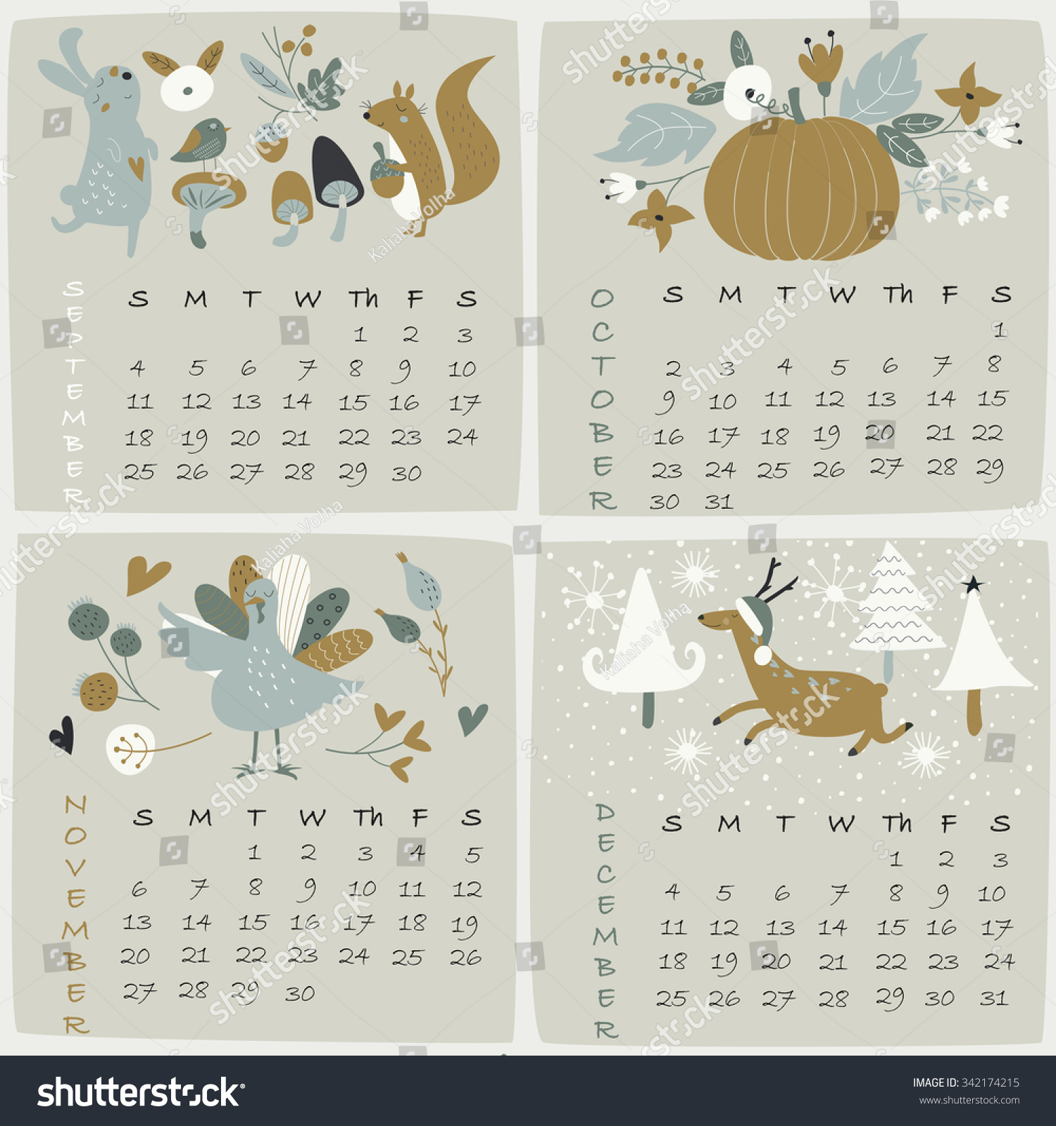 Cute Calendar Illustration : Calendar september october november december stock