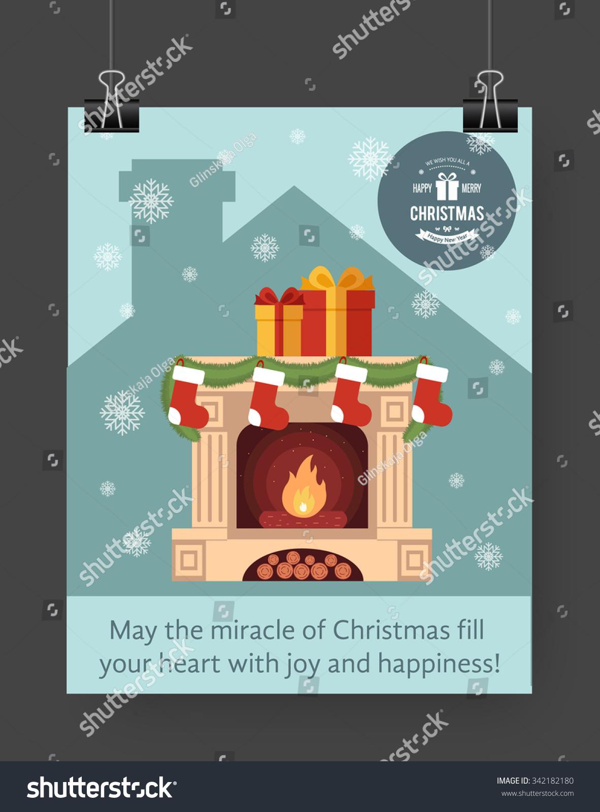 christmas brochure template flat flyer design xmas fireplace christmas brochure template flat flyer design xmas fireplace presents christmas logo vector