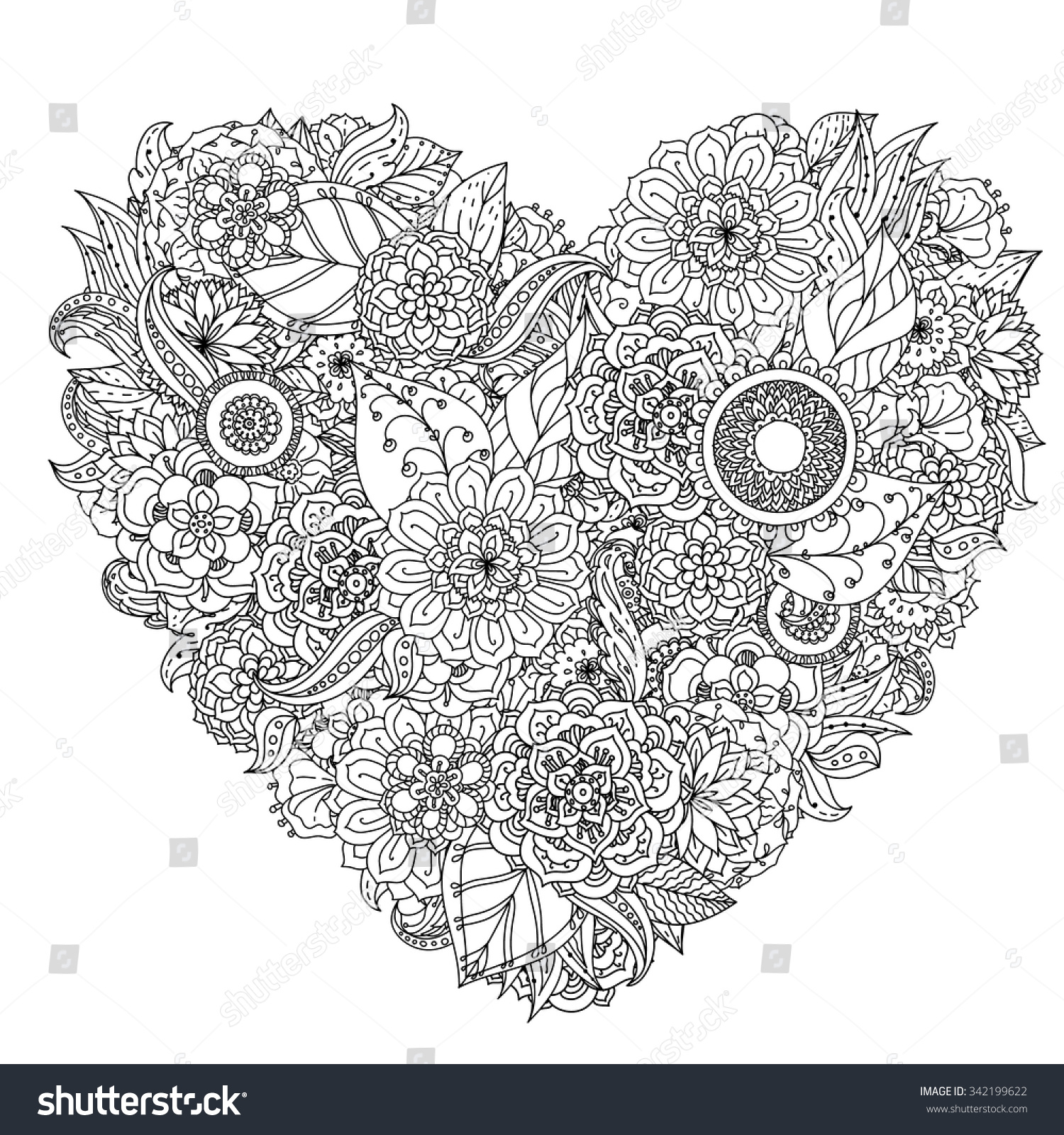 Hand Drawing Zentangle Element Black And White Flower