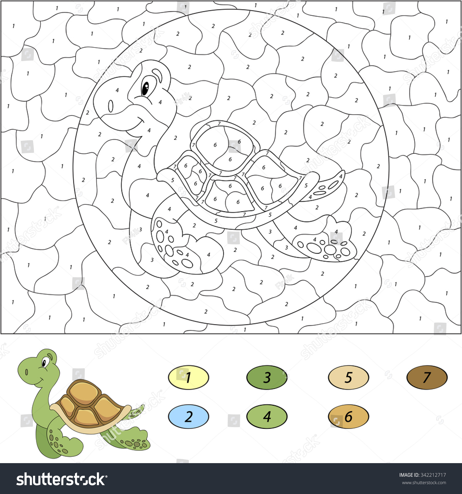 Game color by numbers - Color By Number Educational Game For Kids Funny Cartoon Turtle Vector Illustration For Schoolchild