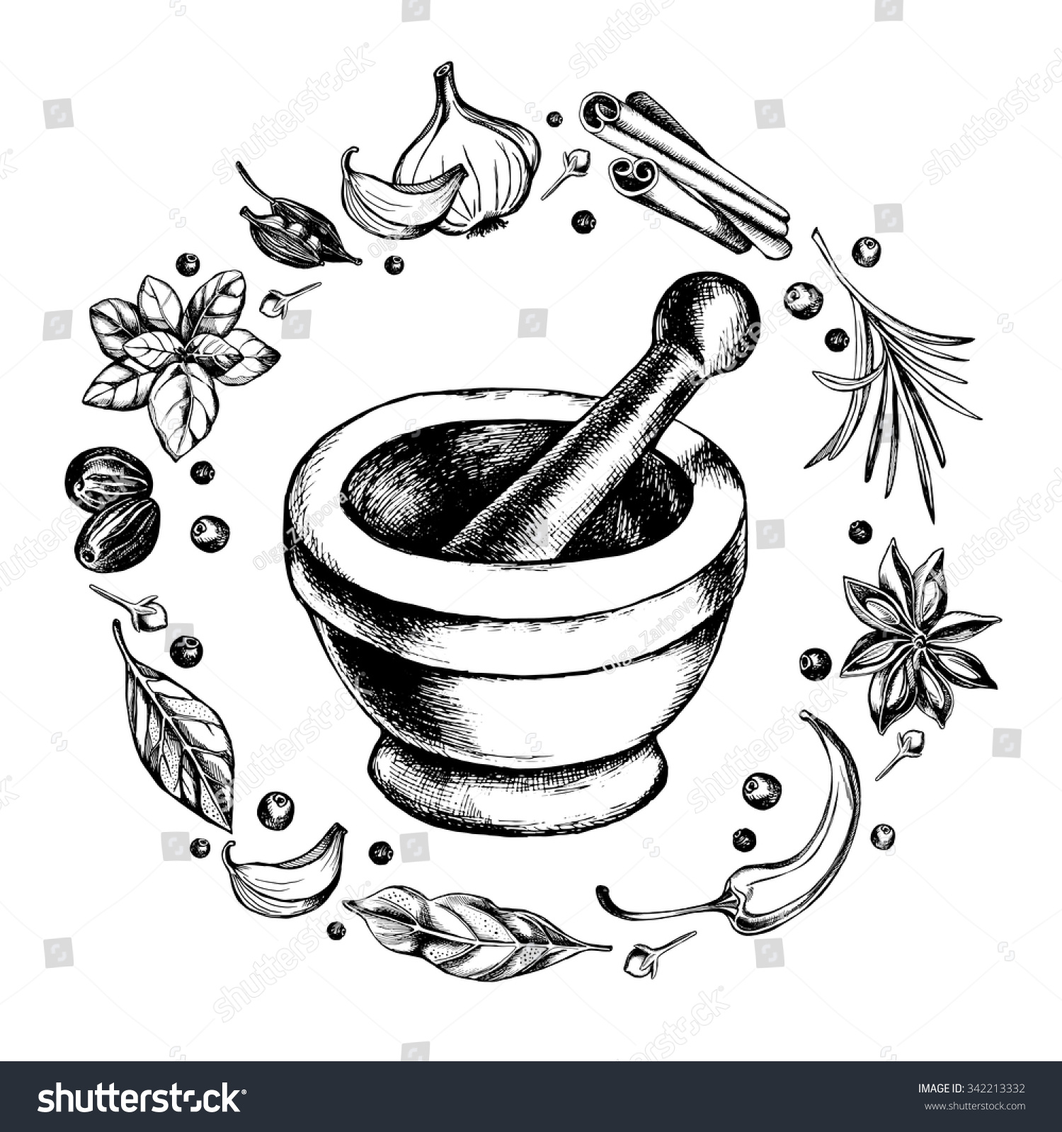 Mortar Pestle Wreath Spices Herbs Handdrawn Stock Vector 342213332 ... for Mortar And Pestle Drawing  181obs